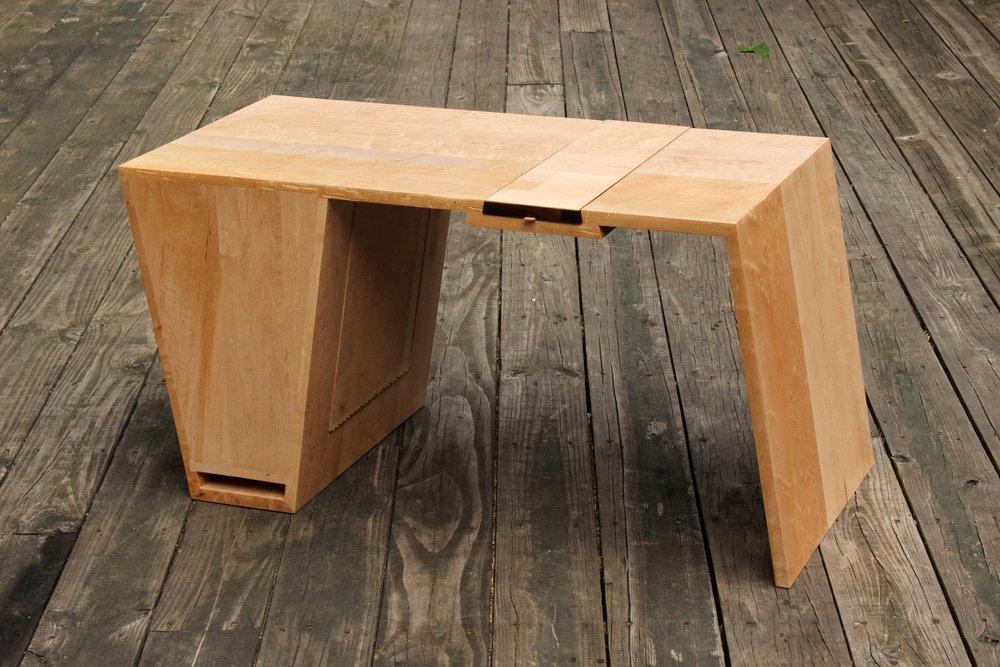 custom birdseye maple coffee table mid century modern furniture Sallie Plumley Studio Richmond Virginia Sally Plumley Custom Woodworking and Furniture Design