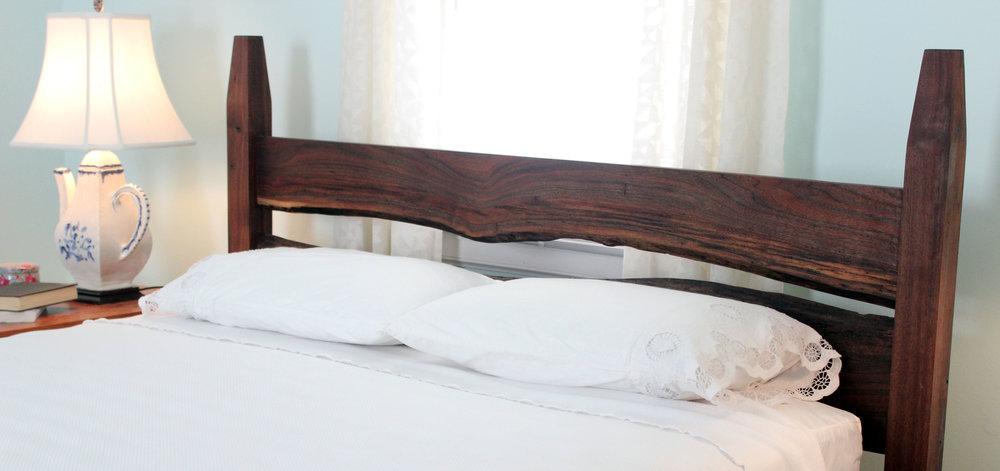 custom live edge walnut bed mid century modern furniture Sallie Plumley Studio Richmond Virginia Sally Plumley Custom Woodworking and Furniture Design