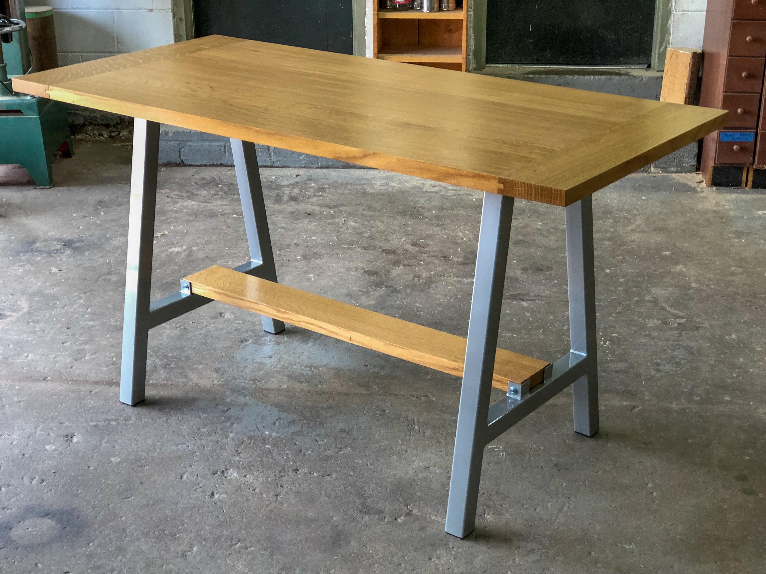custom white oak breadboard end tabletop