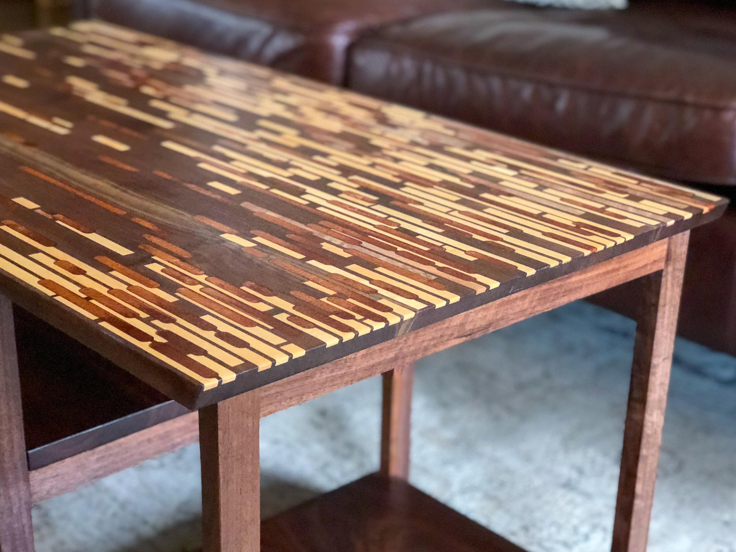 custom walnut coffee table with maple and copper inlay Sallie Plumley Studio Richmond Virginia