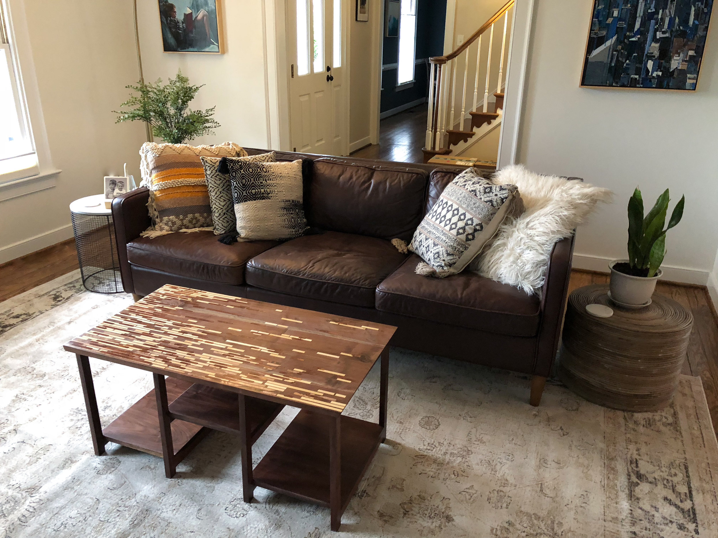 Patterned inlay coffee table