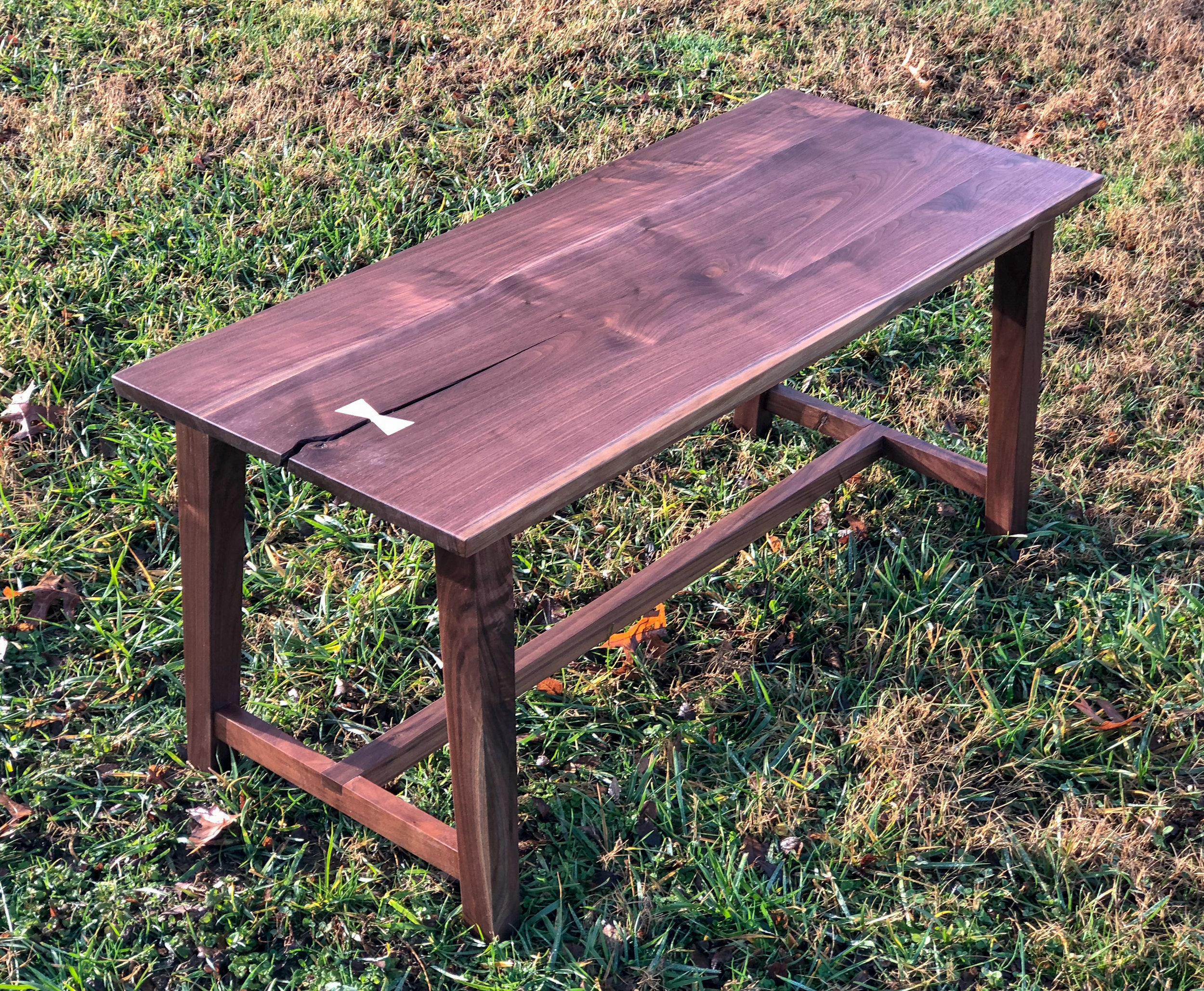 Custom Walnut Bench with bow tie joinery