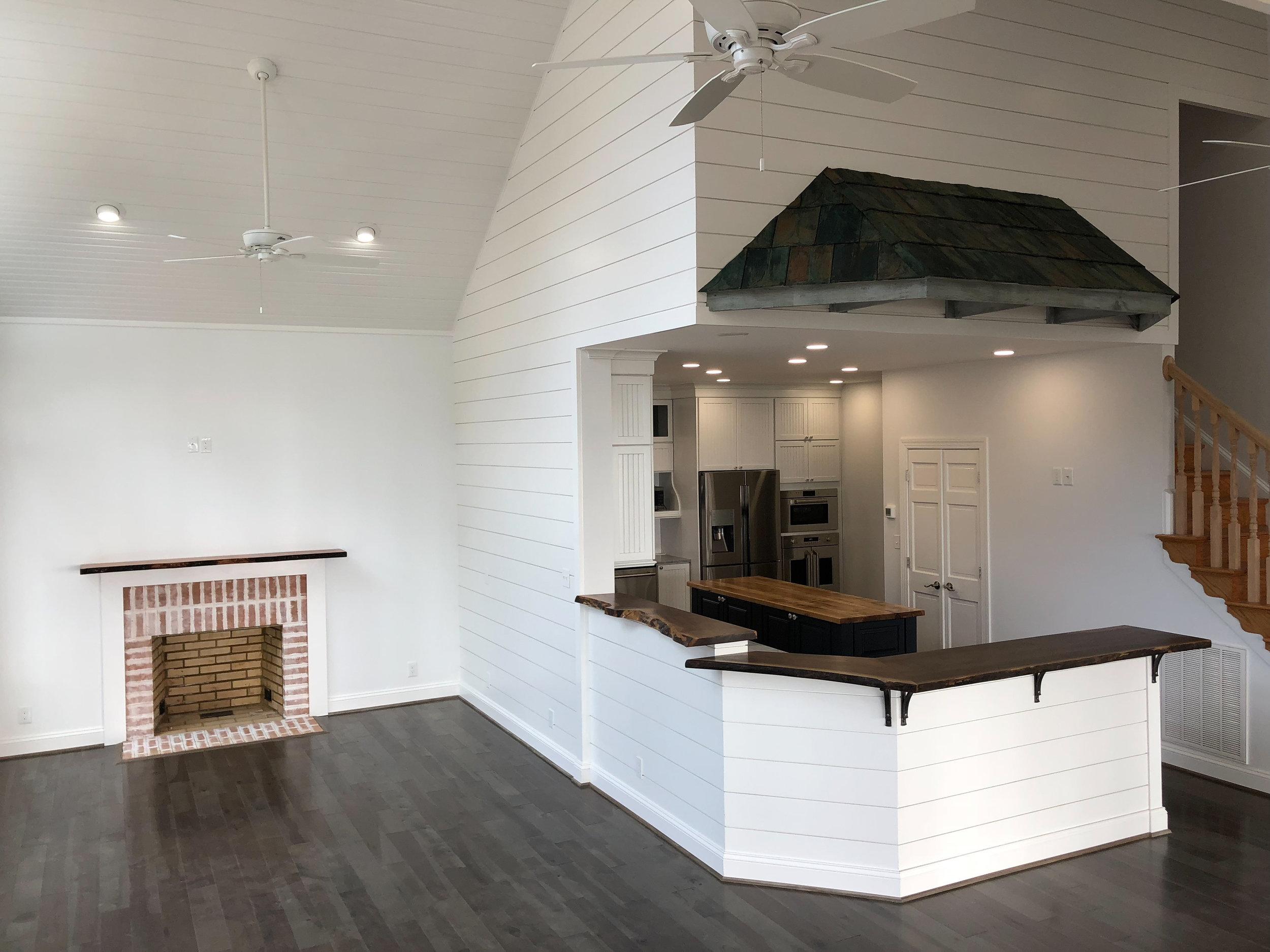 Live Edge Walnut Bar Top Hardwood Kitchen Island Live Edge Mantle Crab Point Sallie Plumley Studio Richmond Virginia Sally Plumley