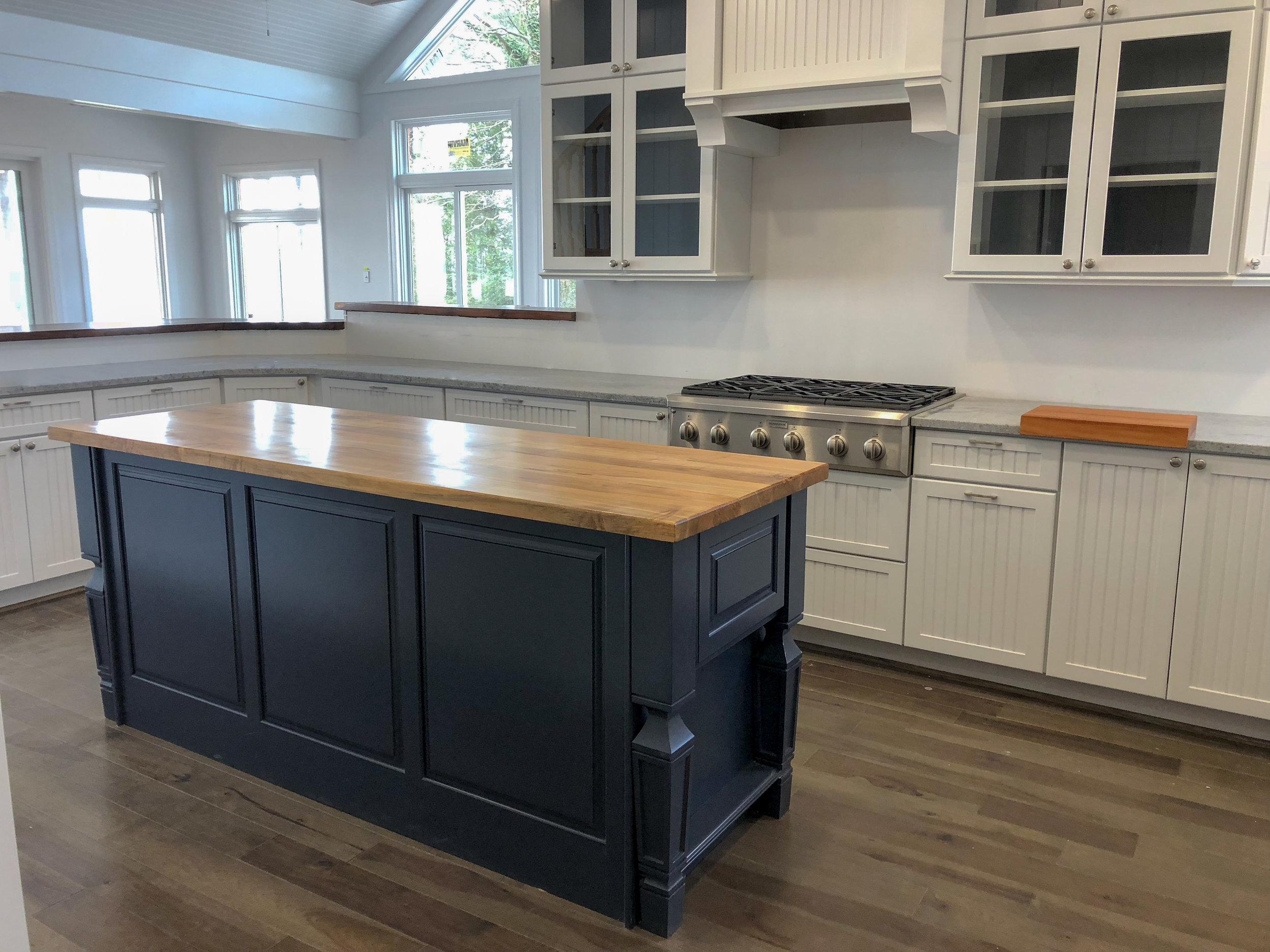 custom maple hardwood kitchen island and countertop