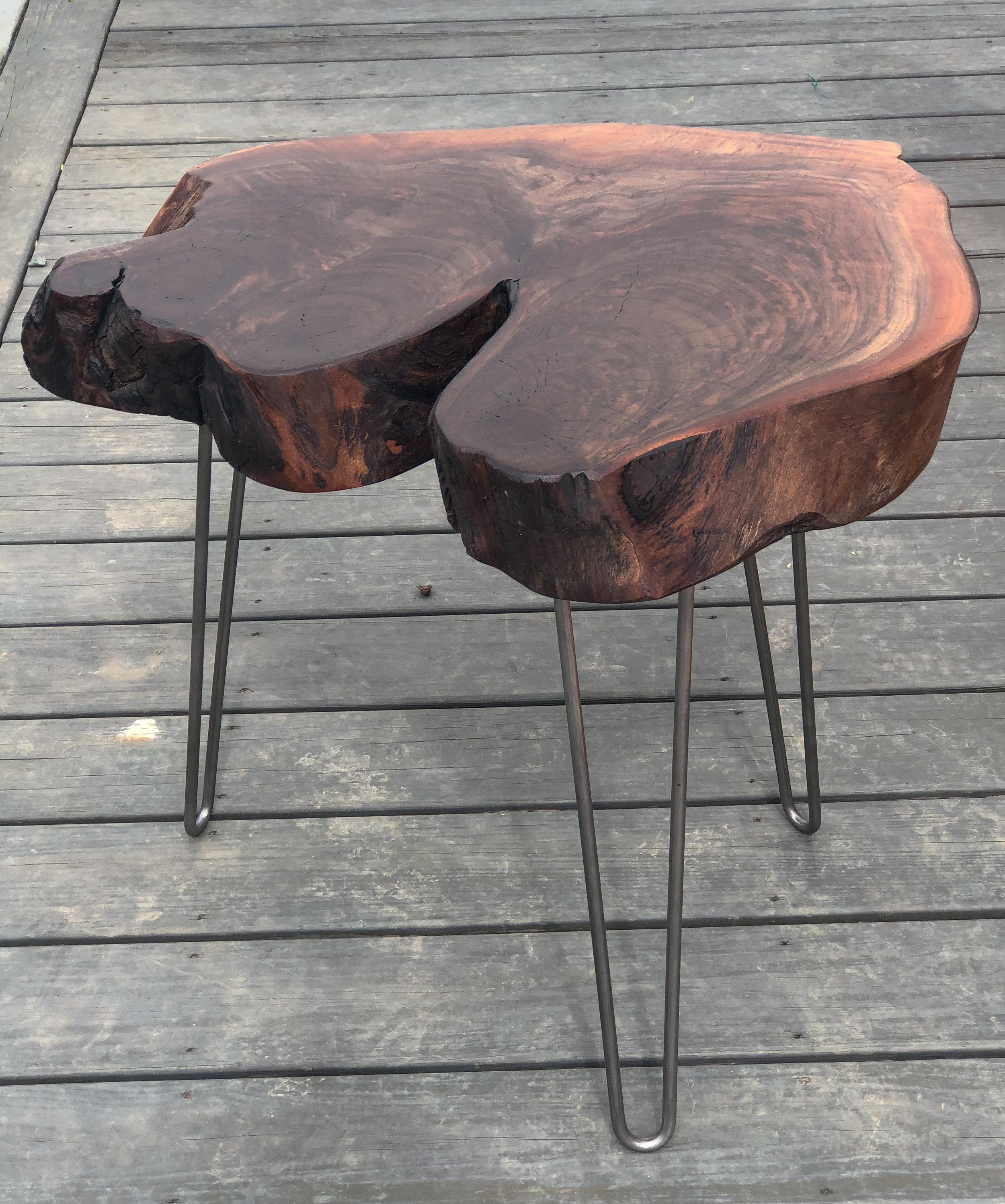 Charlie's Side Table- Walnut Live Edge Cross Cut Side Table
