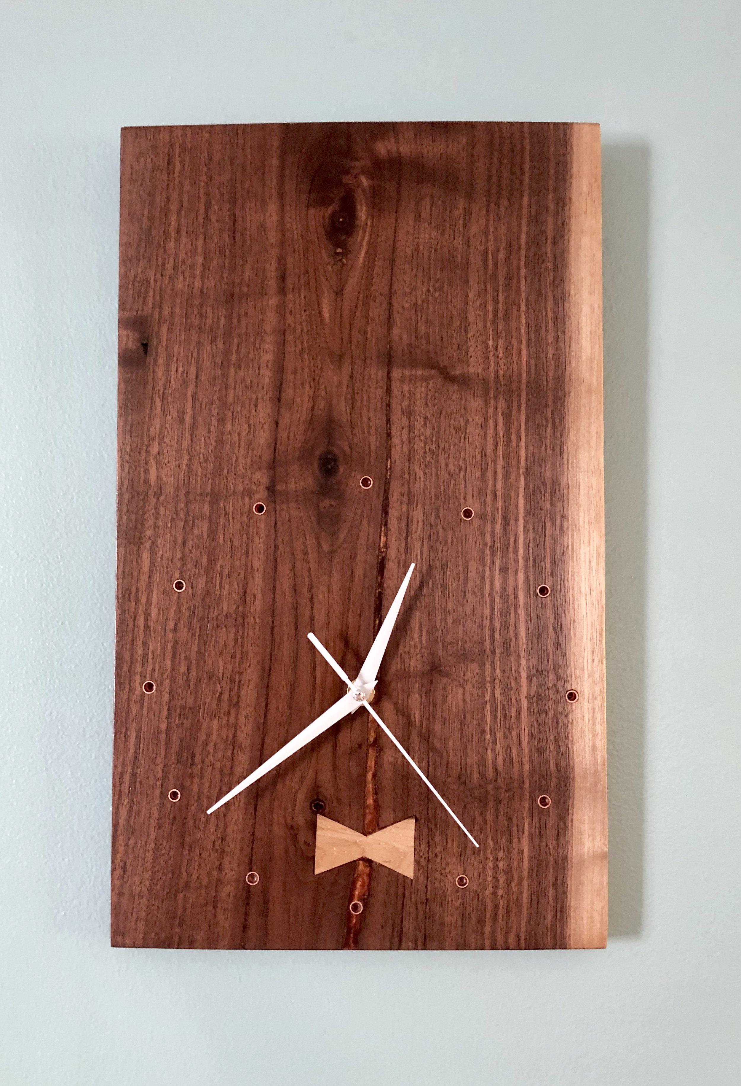 Rectangular Walnut Clock with Maple Bow Tie