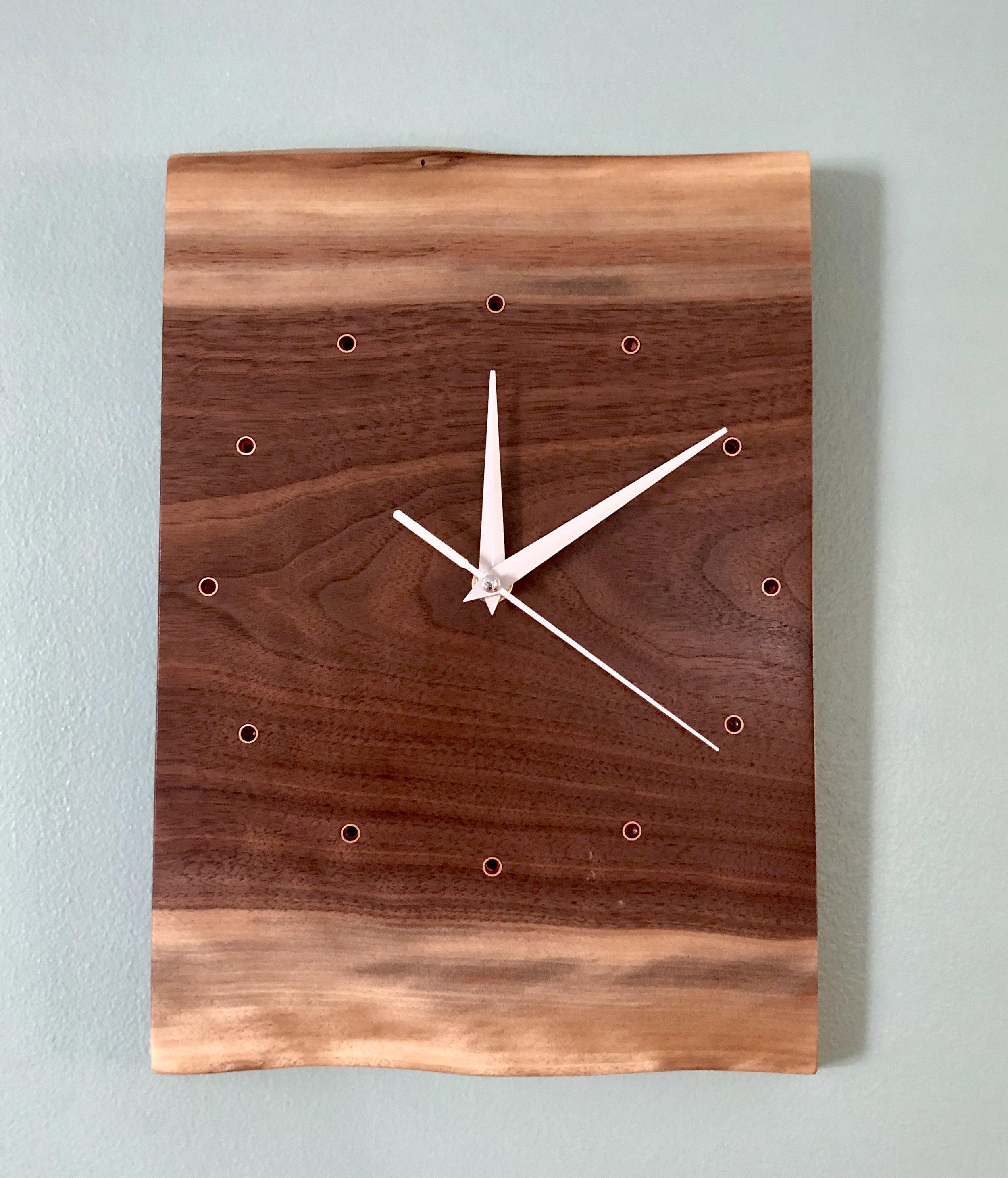 Small Live Edge Walnut Clock