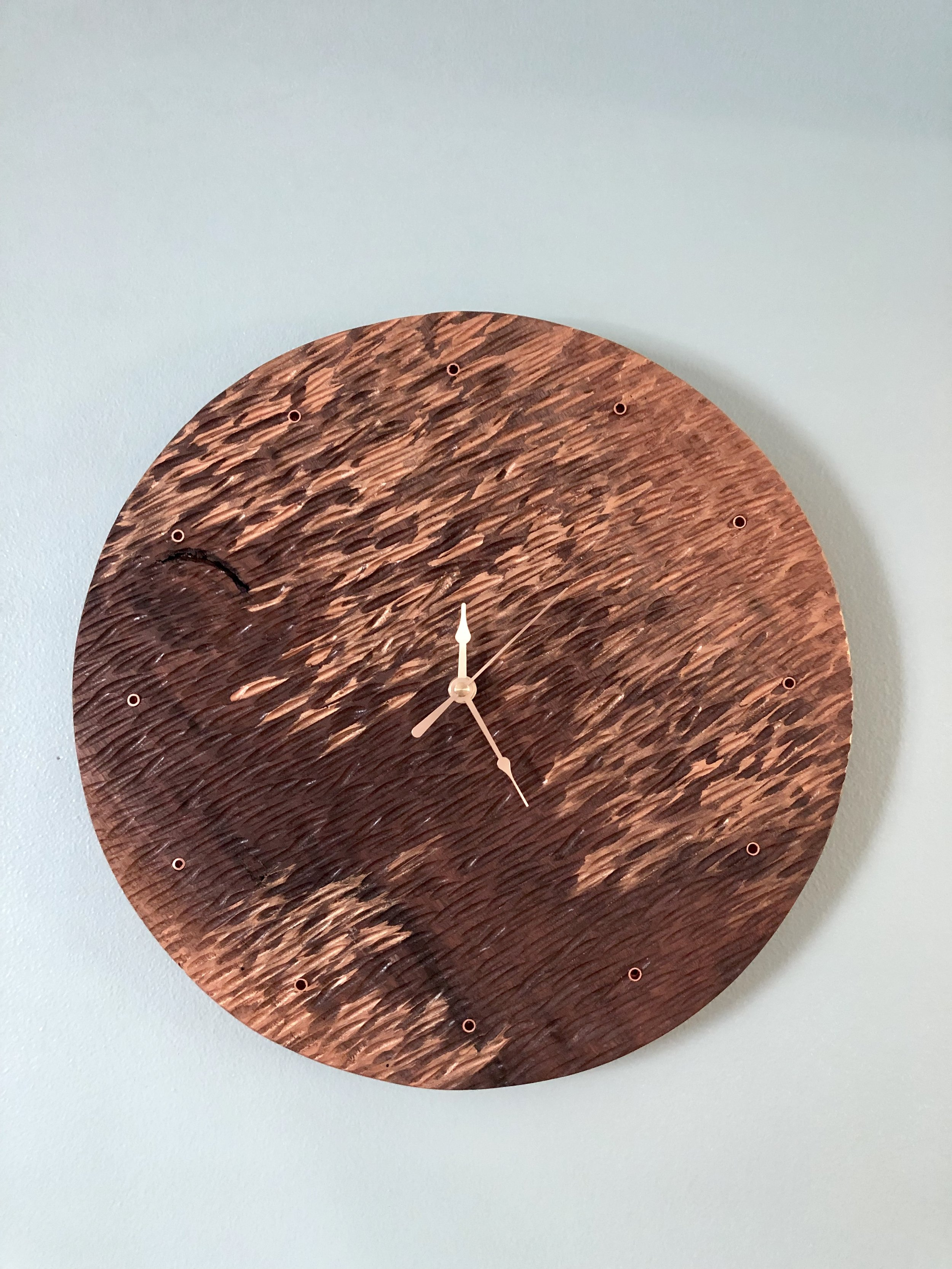 Carved Walnut Clock Brushed with Copper