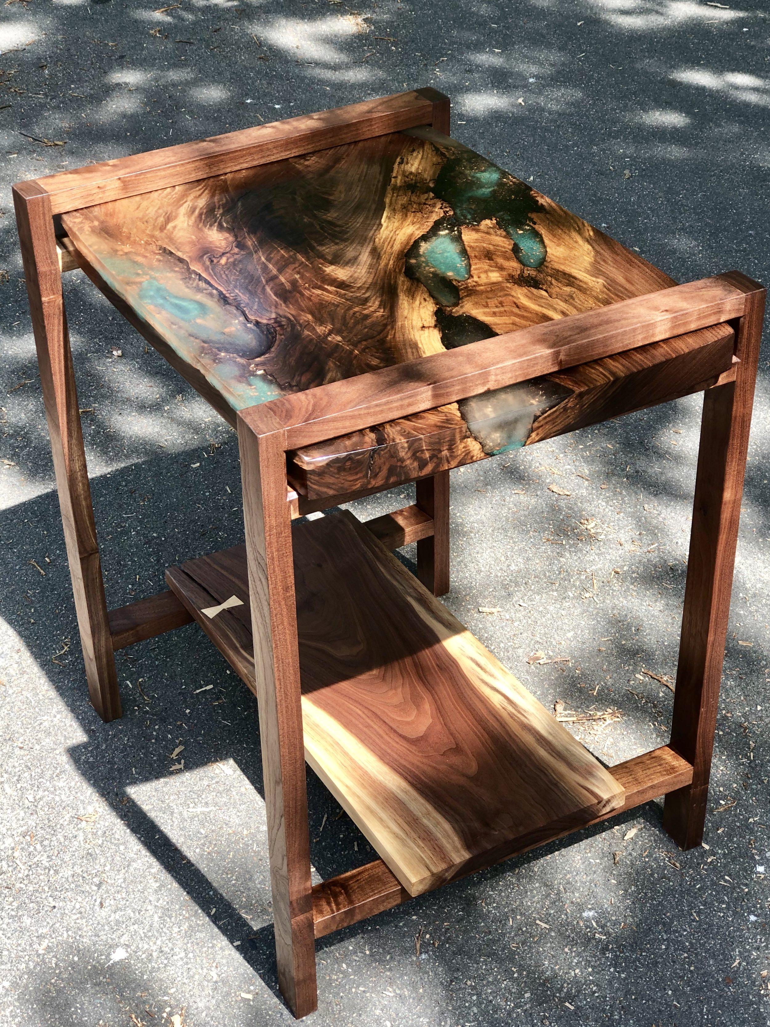 Layered Resin Inlay Walnut Side Table Sallie Plumley Studio Richmond Virginia Sally Plumlee