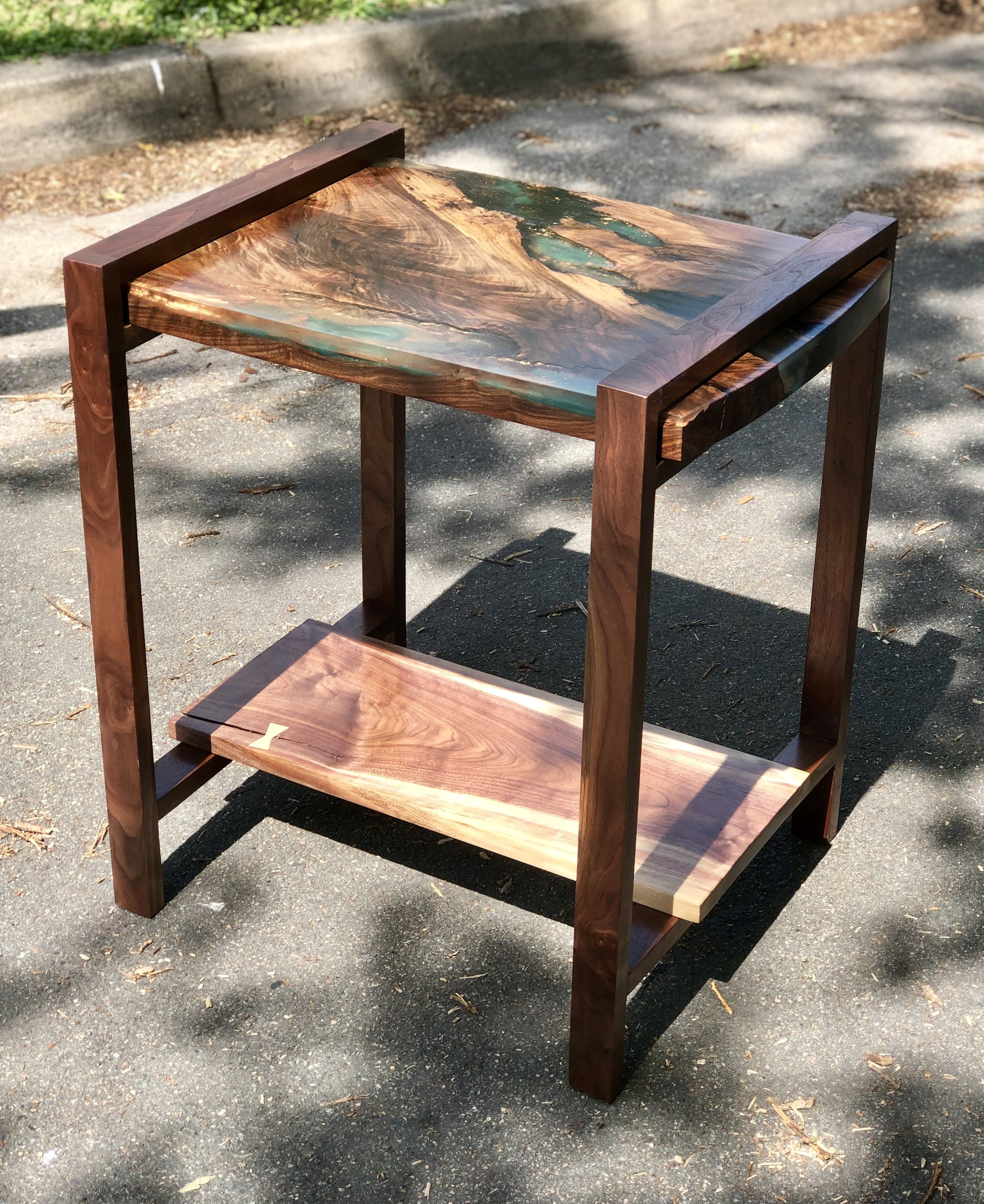 Layered Inlay Walnut Side Table