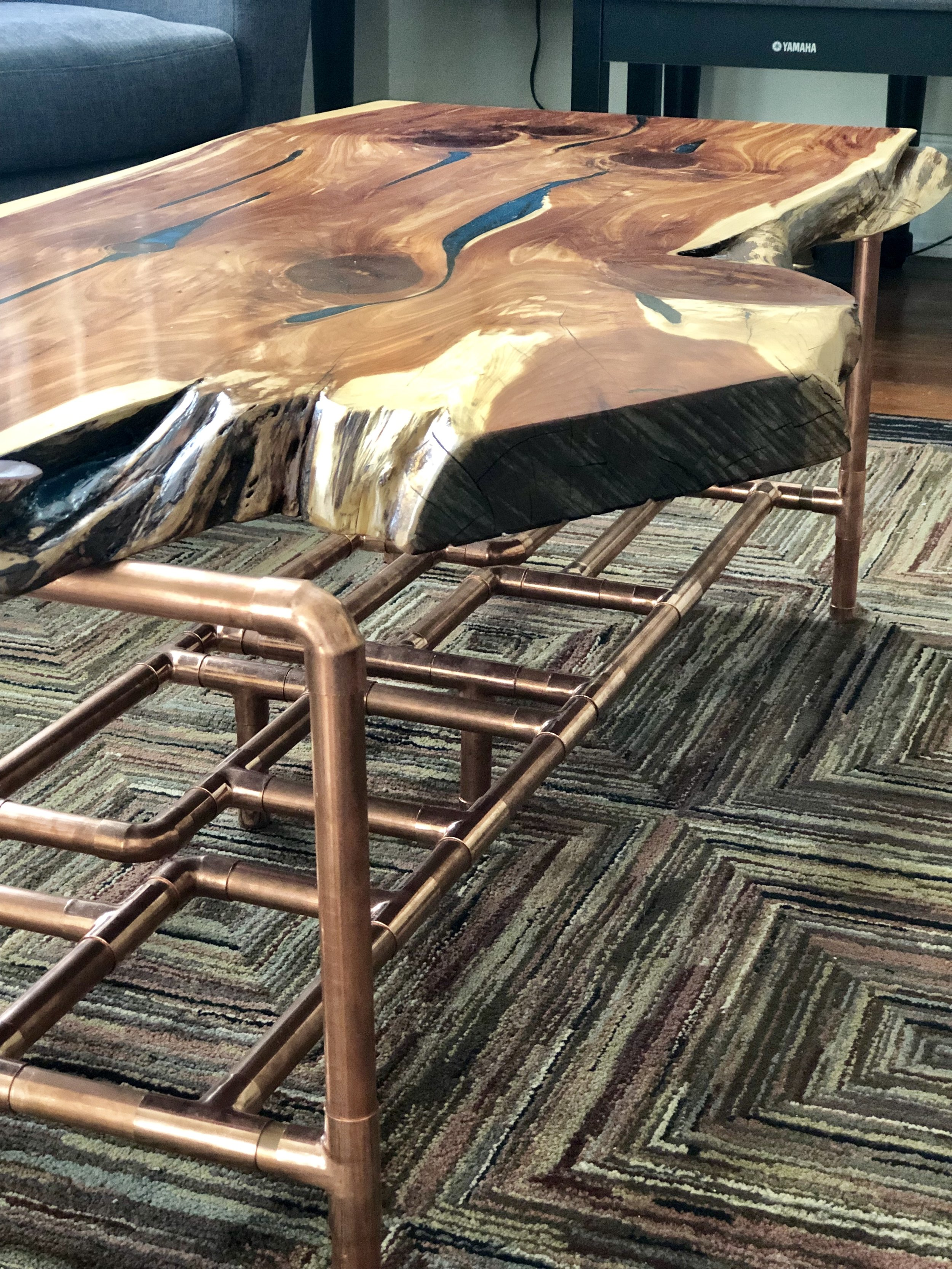 Sallie Plumley Studio Aromatic Cedar and Copper Pipe Coffee Table with Malachite Resin Inlay 14.jpg