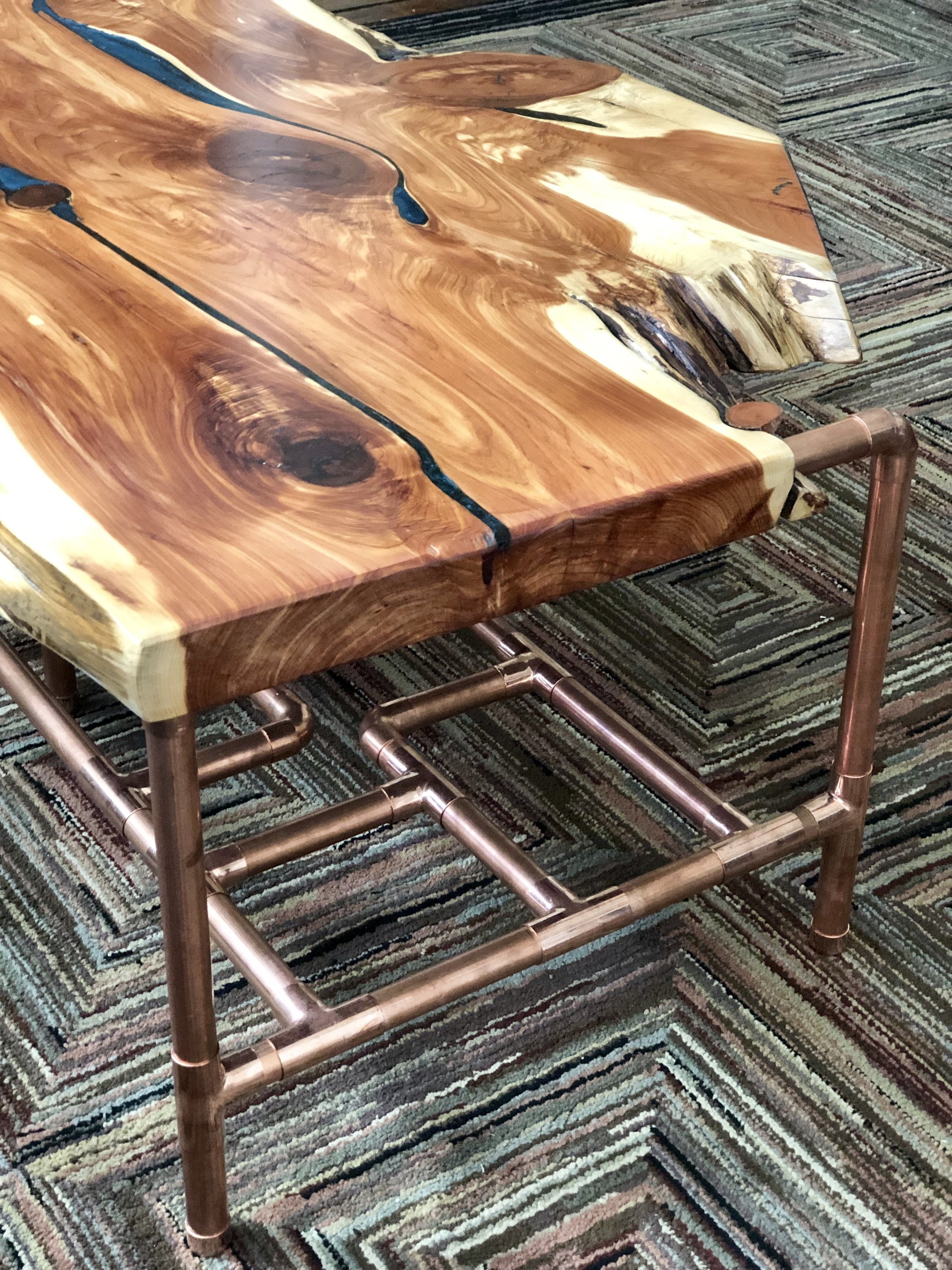 Sallie Plumley Studio Aromatic Cedar and Copper Pipe Coffee Table with Malachite Resin Inlay 16.jpg
