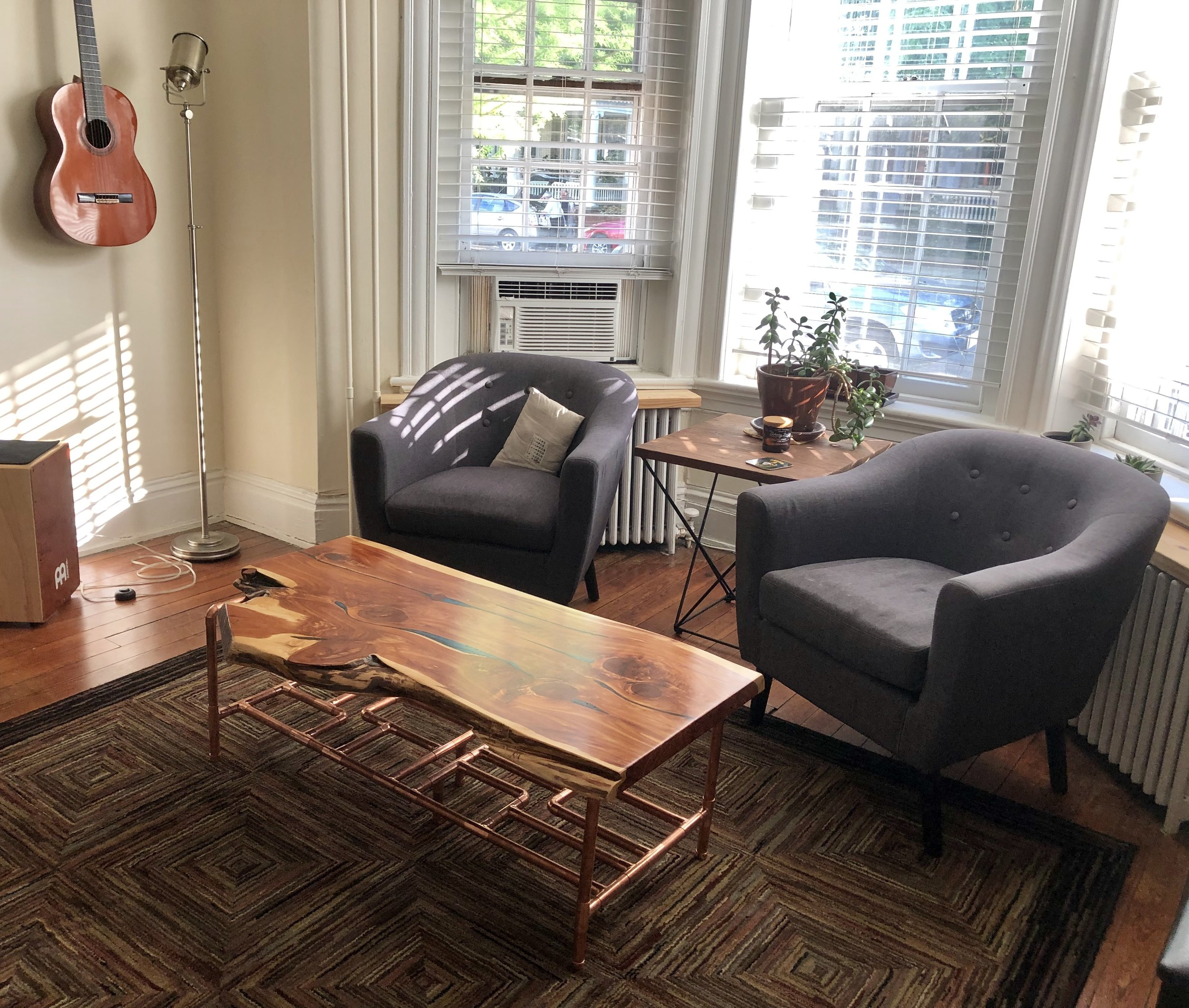 Custom Woodworking and Furniture Design company in Richmond, Virginia. One woman owned and operated. Handcrafted with integrity and uncompromised quality. Live Edge coffee table. live edge furniture. rva made. epoxy inlay. RVA Fine Furniture Maker. Aromatic Cedar Table