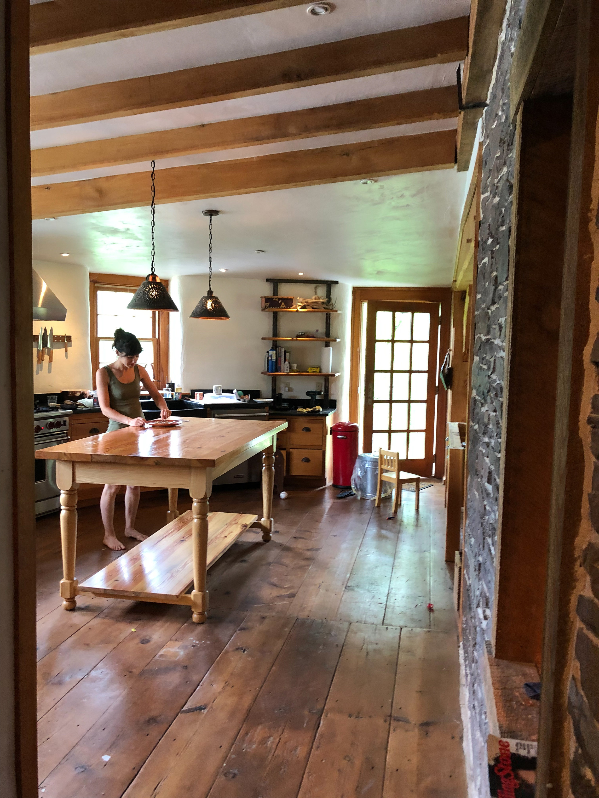 Heart pine and ash wood kitchen island