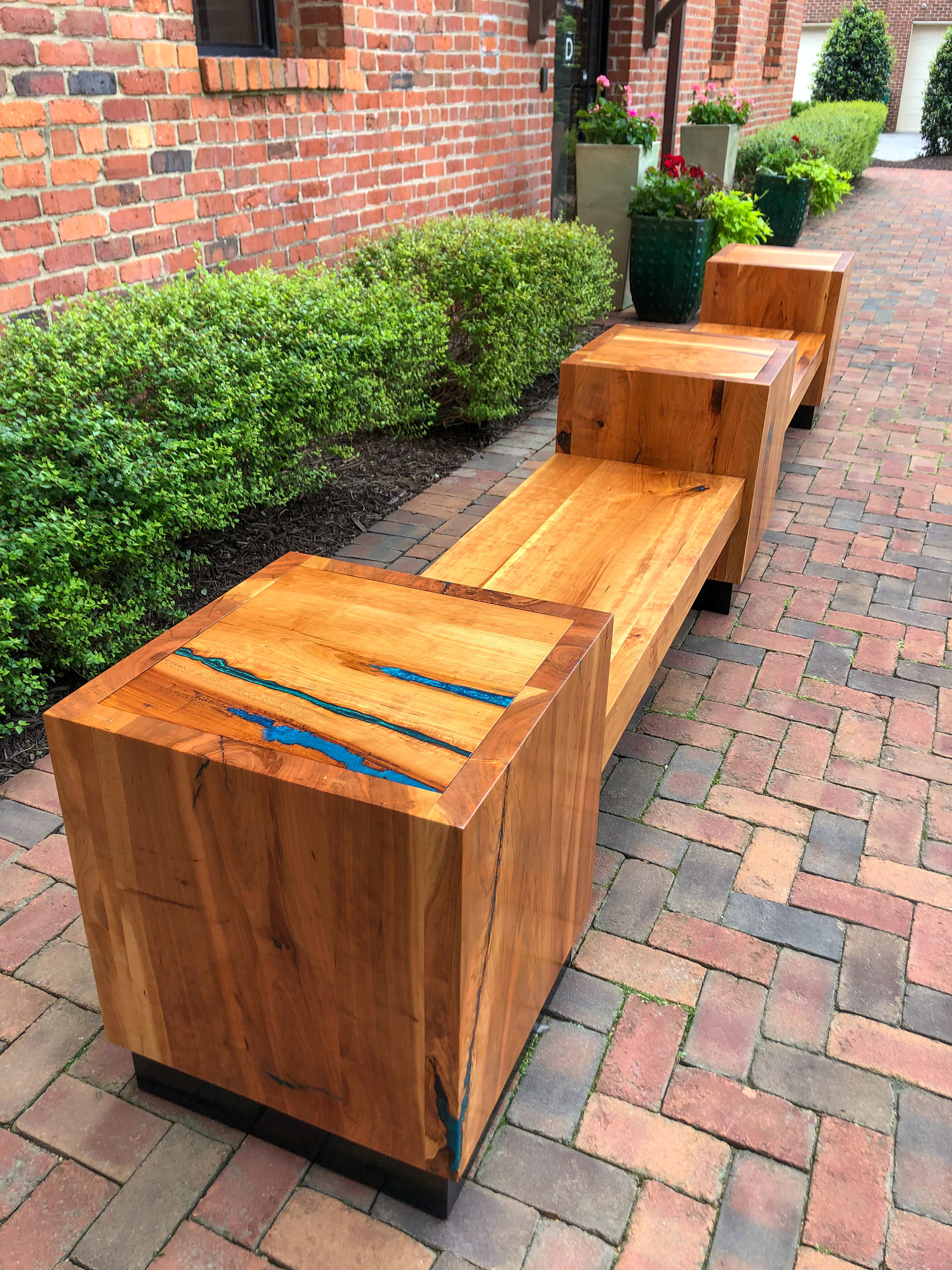 Rocket's Landing Cherry Benches and Tables. Sallie Plumley Studio. Richmond Virginia. One Woman Owned Business. Sally Plumlee