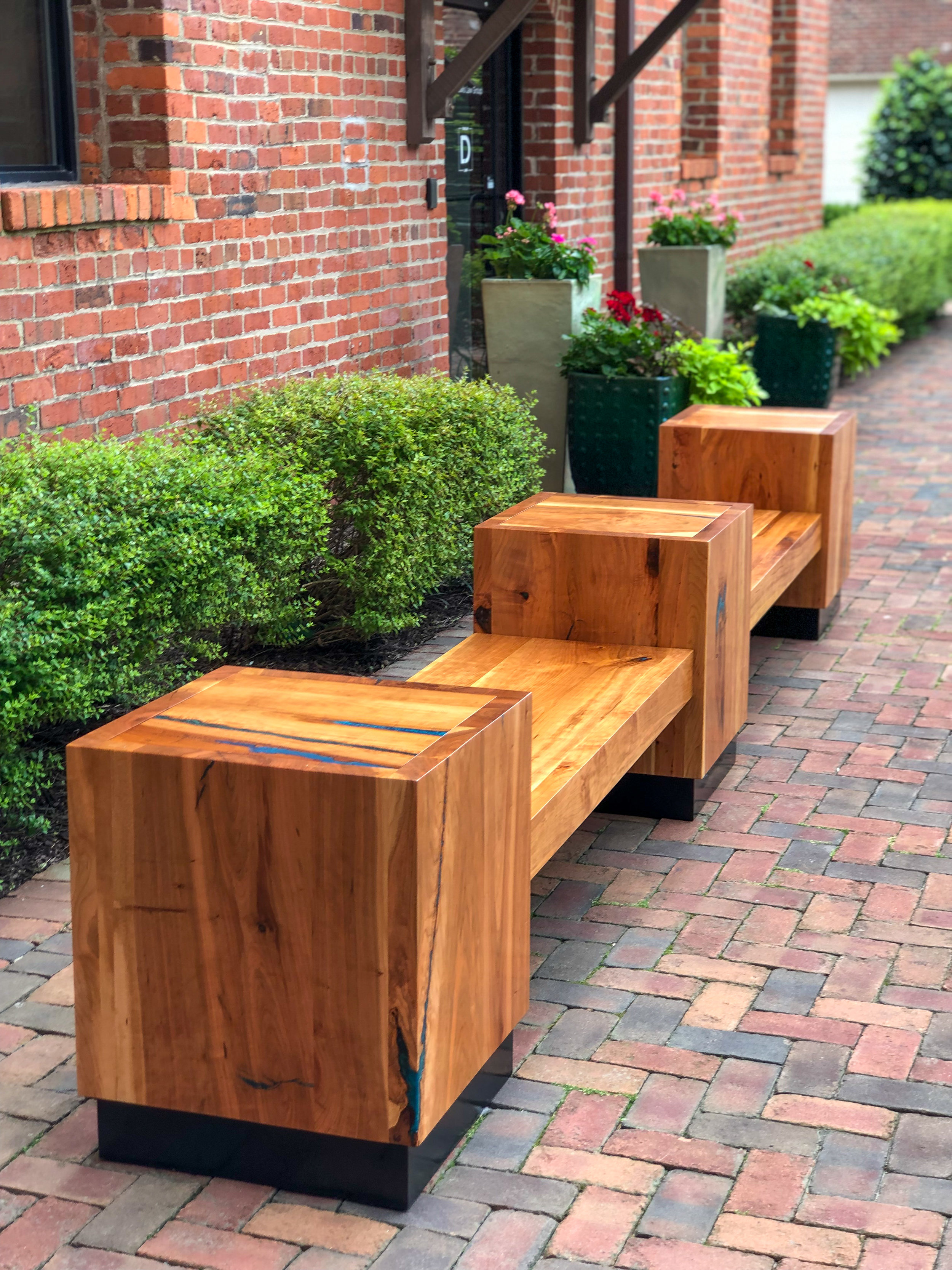 Cherry Benches and Tables in Rocket's Landing, Richmond, Virginia by Sallie Plumley studio.