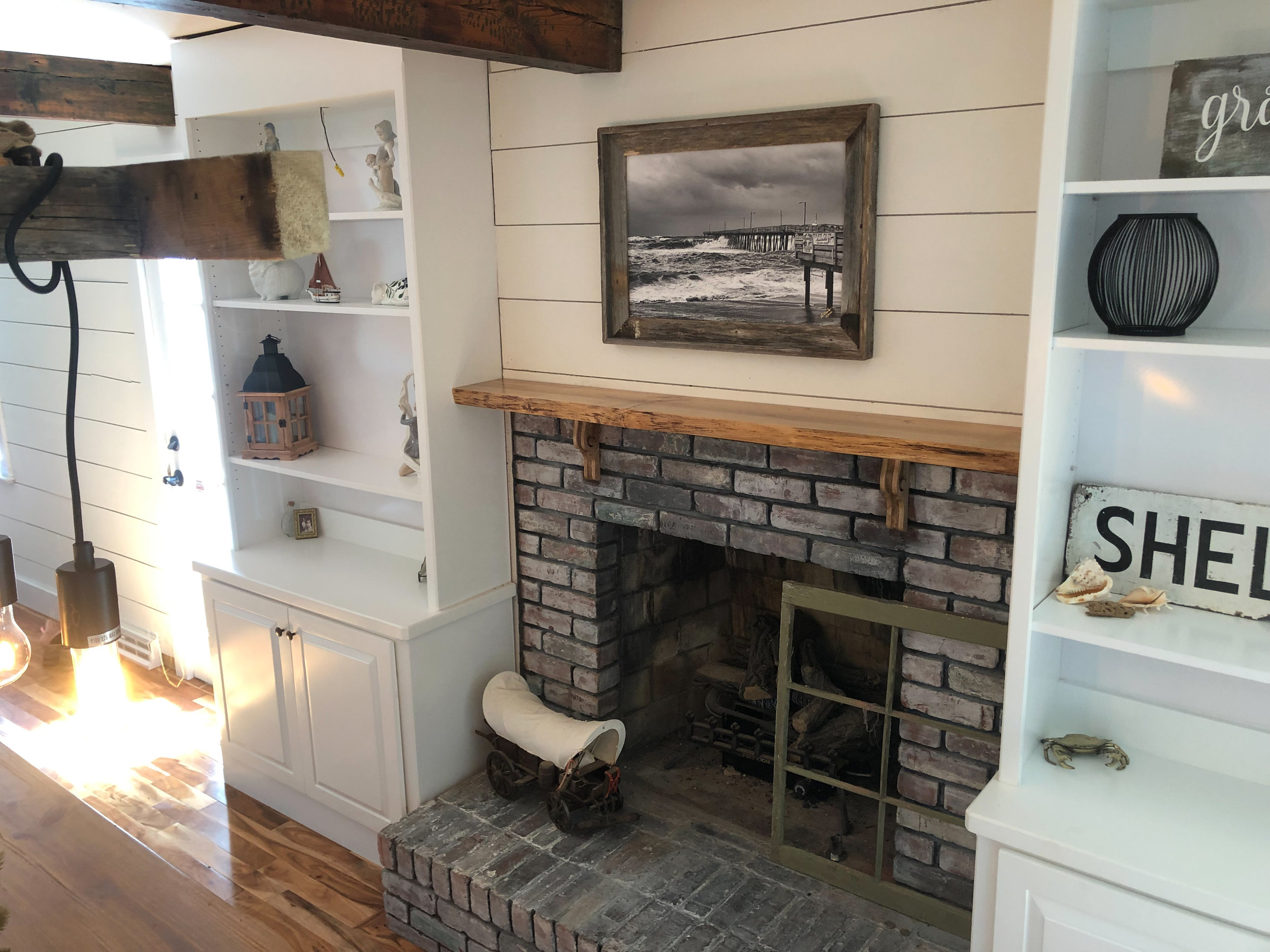Live Edge Maple Mantle with Wooden Corbels
