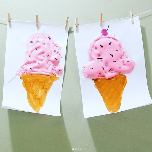 Pastel Puffy Paint - @sierraandtherenas created these perfect puffy ice cream pictures. We were inspired to create our own puffy paint recipe to include in our story sack. You can find how we make ours by getting your hands on our recipe card.This paint is such amazing stuff. It dries puffy too! It has the consistency of candy floss! Great for classroom wall displays and for adding extra sensory goodness to arts and crafts activities!