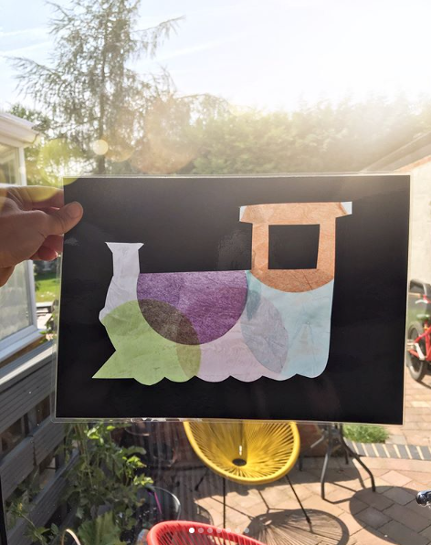 Stained Glass - Use cut out laminated card and tissue paper to create your own stained glass train! Great on light boxes or on windows!@oursensorykids