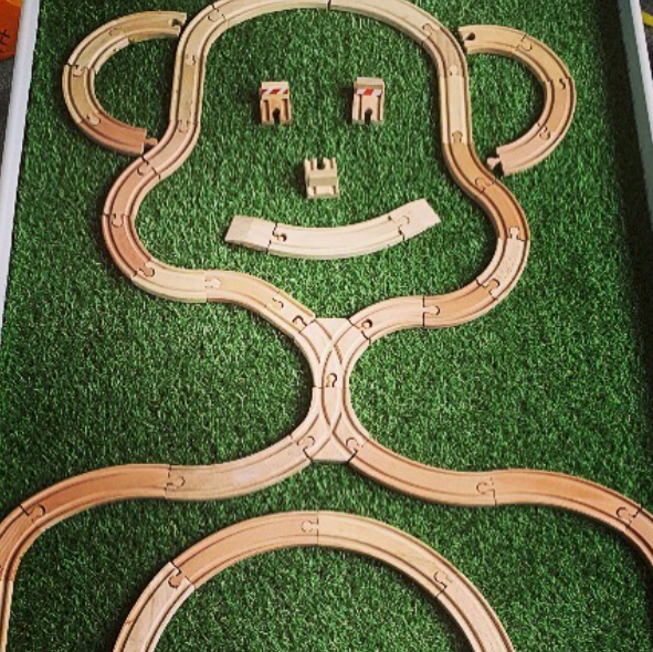 Track Pictures - Get mega creative and create your own train track pictures! Check out this monkey!@create.bake.play