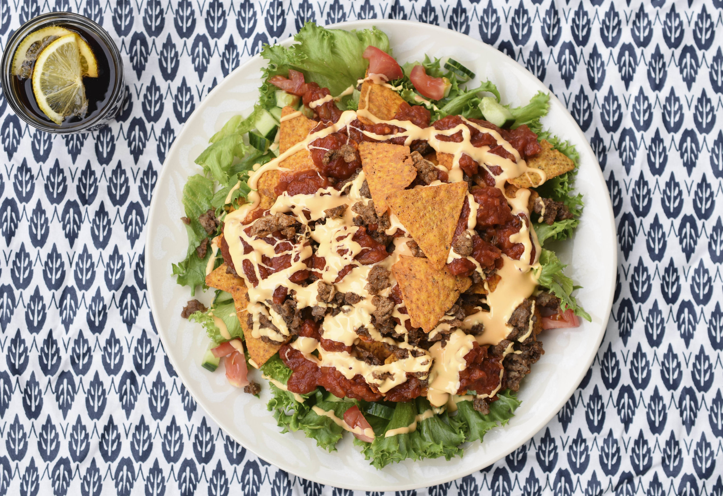 SIRKKIS® - NACHO PLATE - 1 Package of Sirkkis®1 Table Spoon of Olive OilLettuceCucumberRed PepperAvocadoSalsaNachosCheddar Dressing