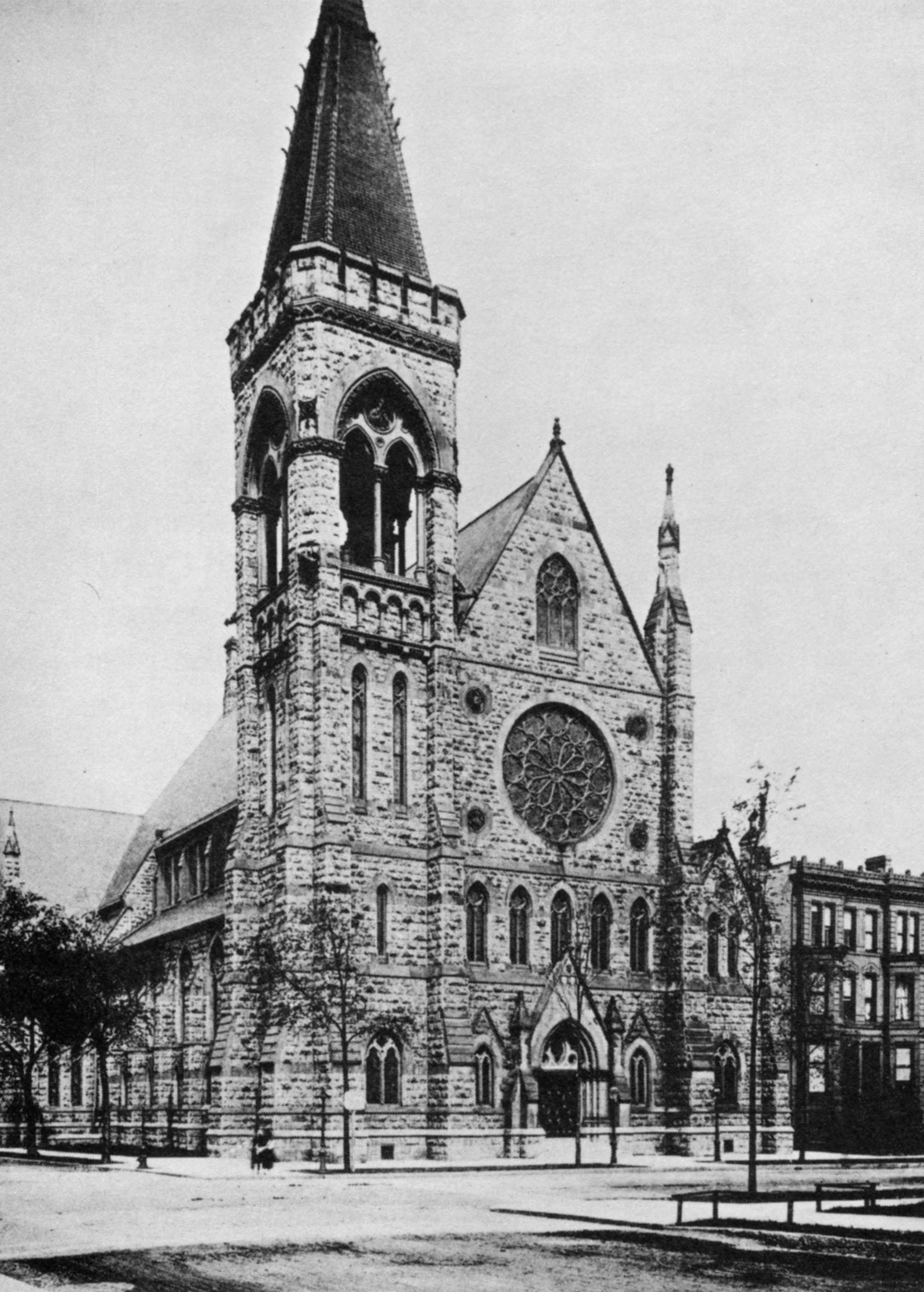 Exterior of church prior to 1900 fire showcasing Renwick's design