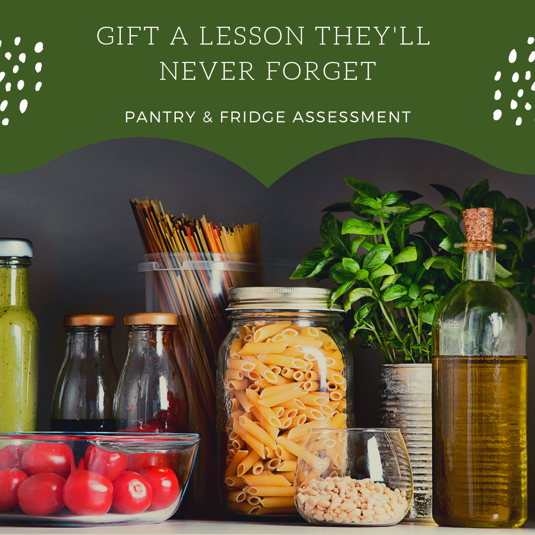 A perfect gift for anyone interested in upgrading their pantry and fridge with healthier alternatives. Learn how to stock your pantry and cook using what you've got. We'll also discuss how to reduce food waste and create customized grocery lists for efficient shopping and smarter spending. The investment for this one-time service is $175.