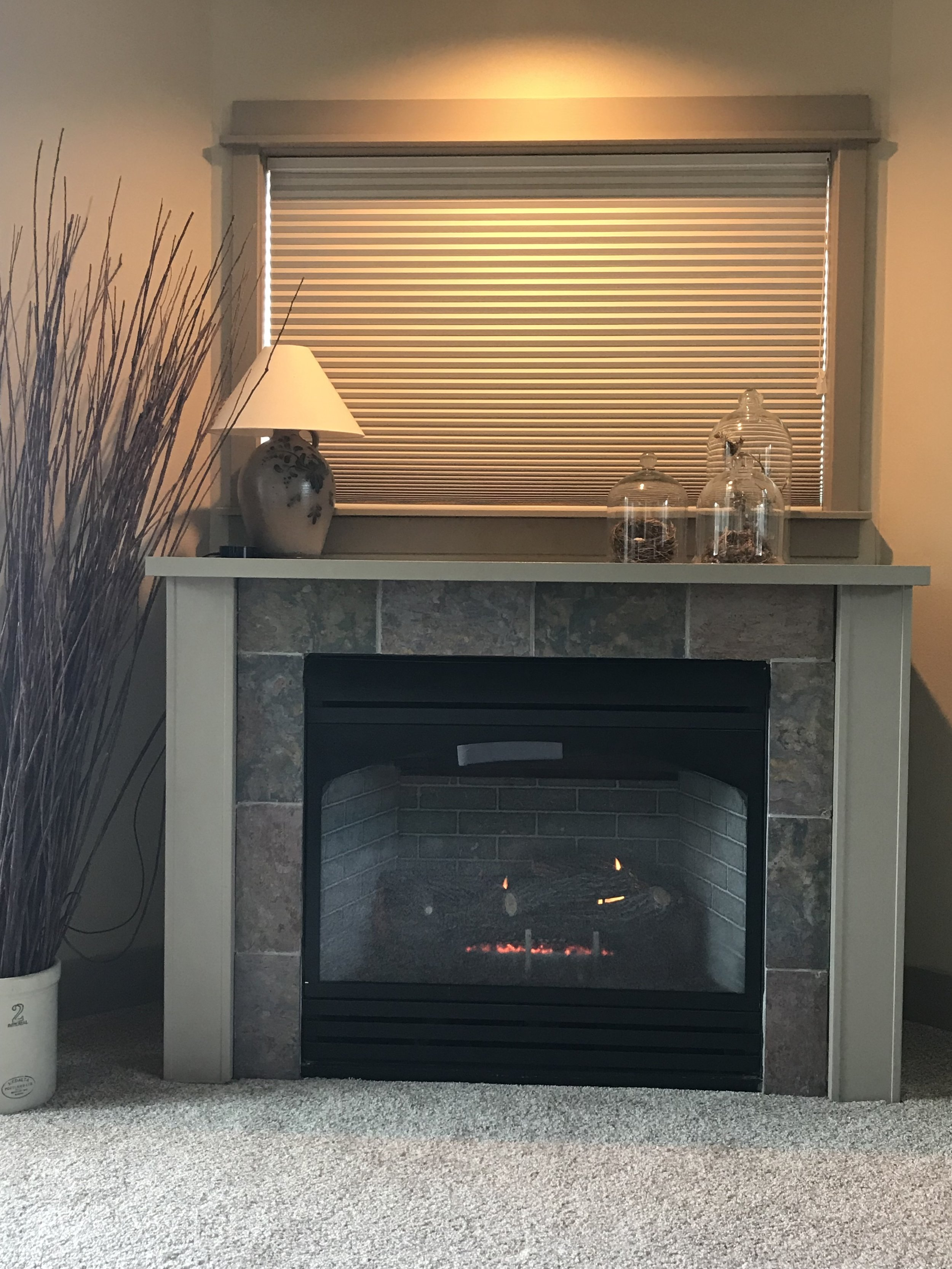 cozy fireplace in room