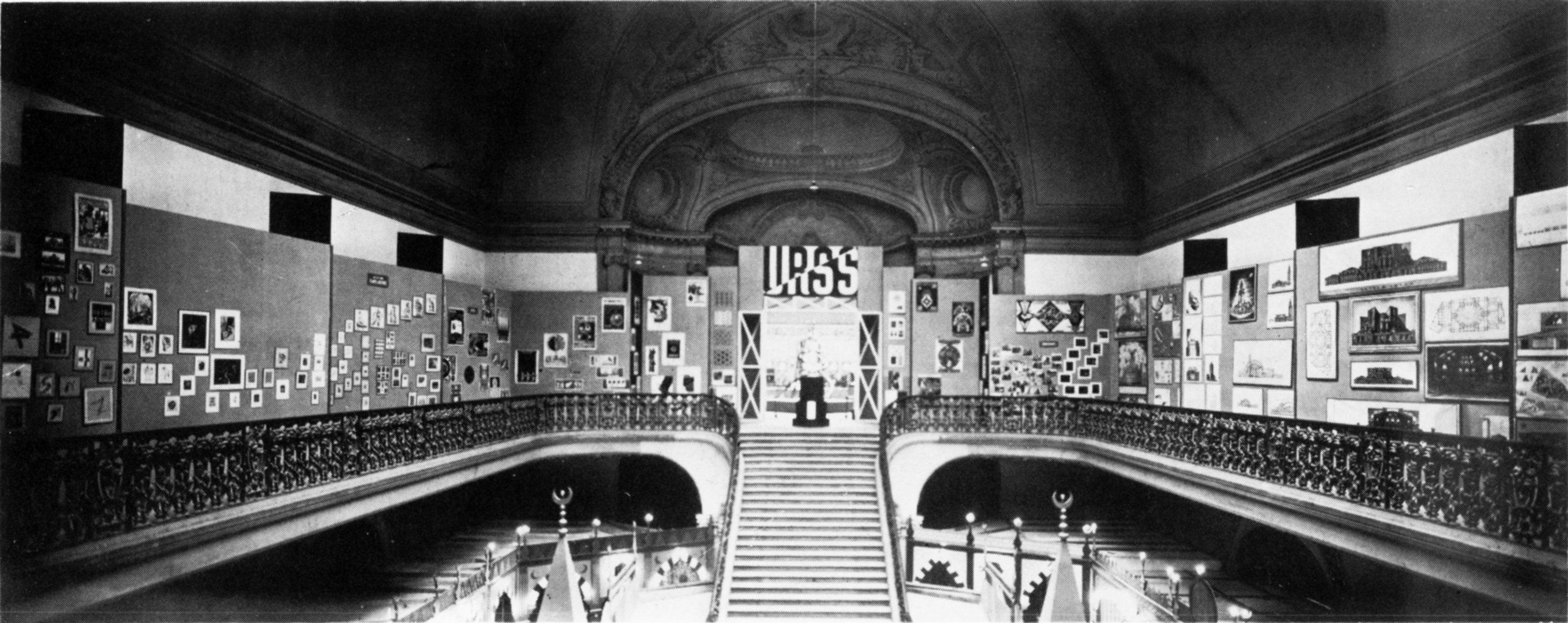 Interior of the Soviet pavilion at the International Exhibition of Modern Decorative and Industrial Arts in Paris. Tatlin's tower would be at the very top of the staircase.