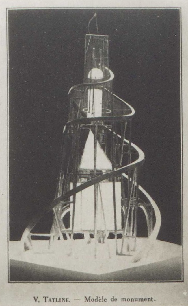 Photo of Vladimir Tatlin's model of the Monument to the Third International in the Soviet Pavilion