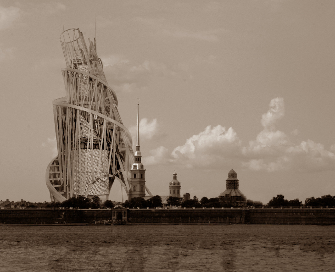 A rendering of Tatlin's Tower if it was constructed by the Neva in Petrograd (St. Petersburg)