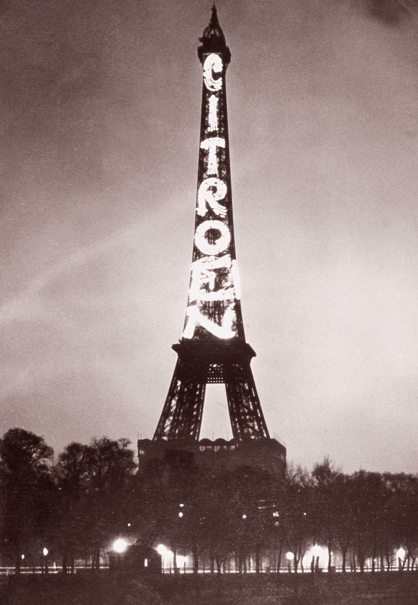 Citroën, a French car manufacturer, using the Eiffel Tower to advertise the company during the International Exhibition of Modern Decorative and Industrial Arts in 1925