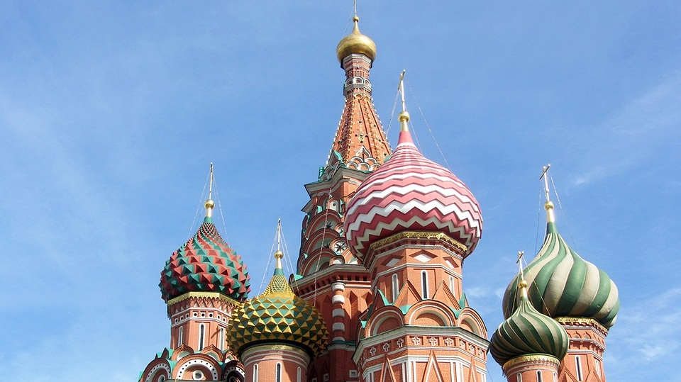 The onion domes of St. Basil's Cathedral in Moscow