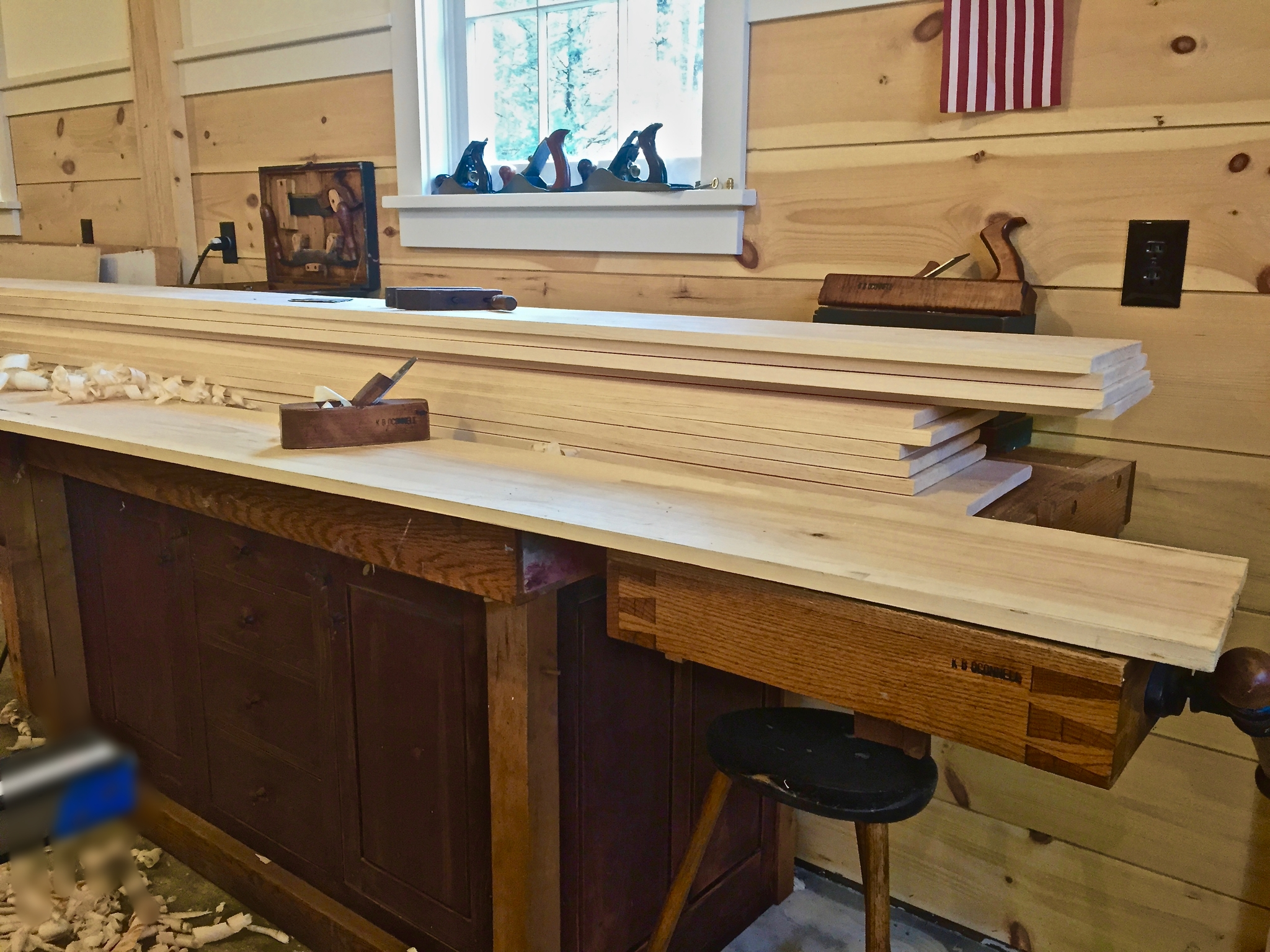 Preparing to hand Plane some new flooring - the first step in replicating a Antique Wide Pine Floor