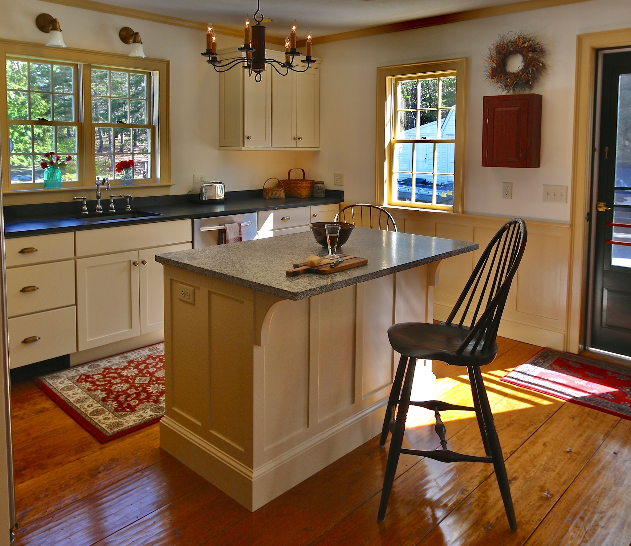 """New Cabinets, Island, Wainscoting and New """"OLD"""" Antiqued Pine floor."""