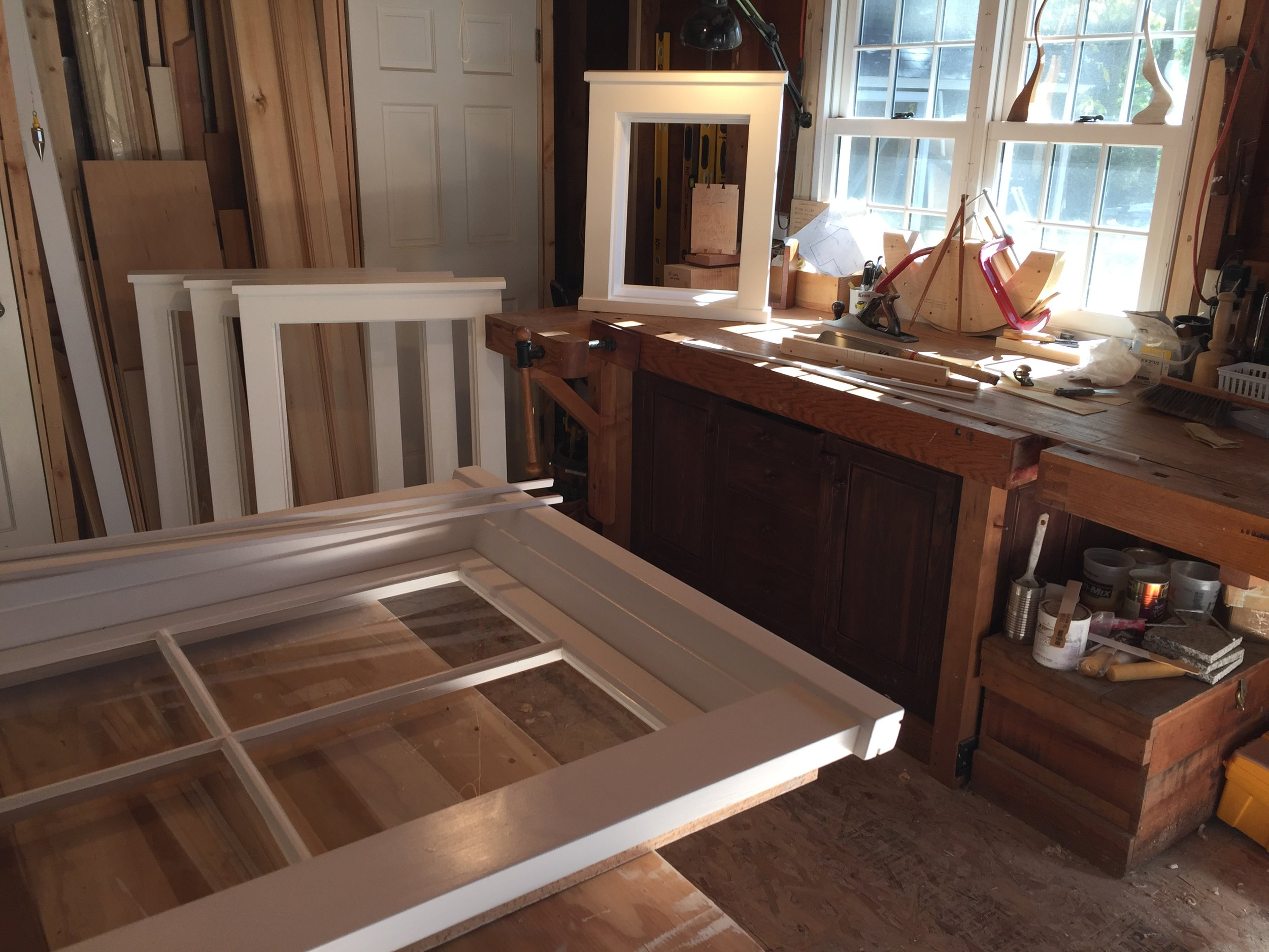"""Building New """"OLD"""" window frames in the shop. Boston 2/2 sash being installed in new frames. Very authentic."""