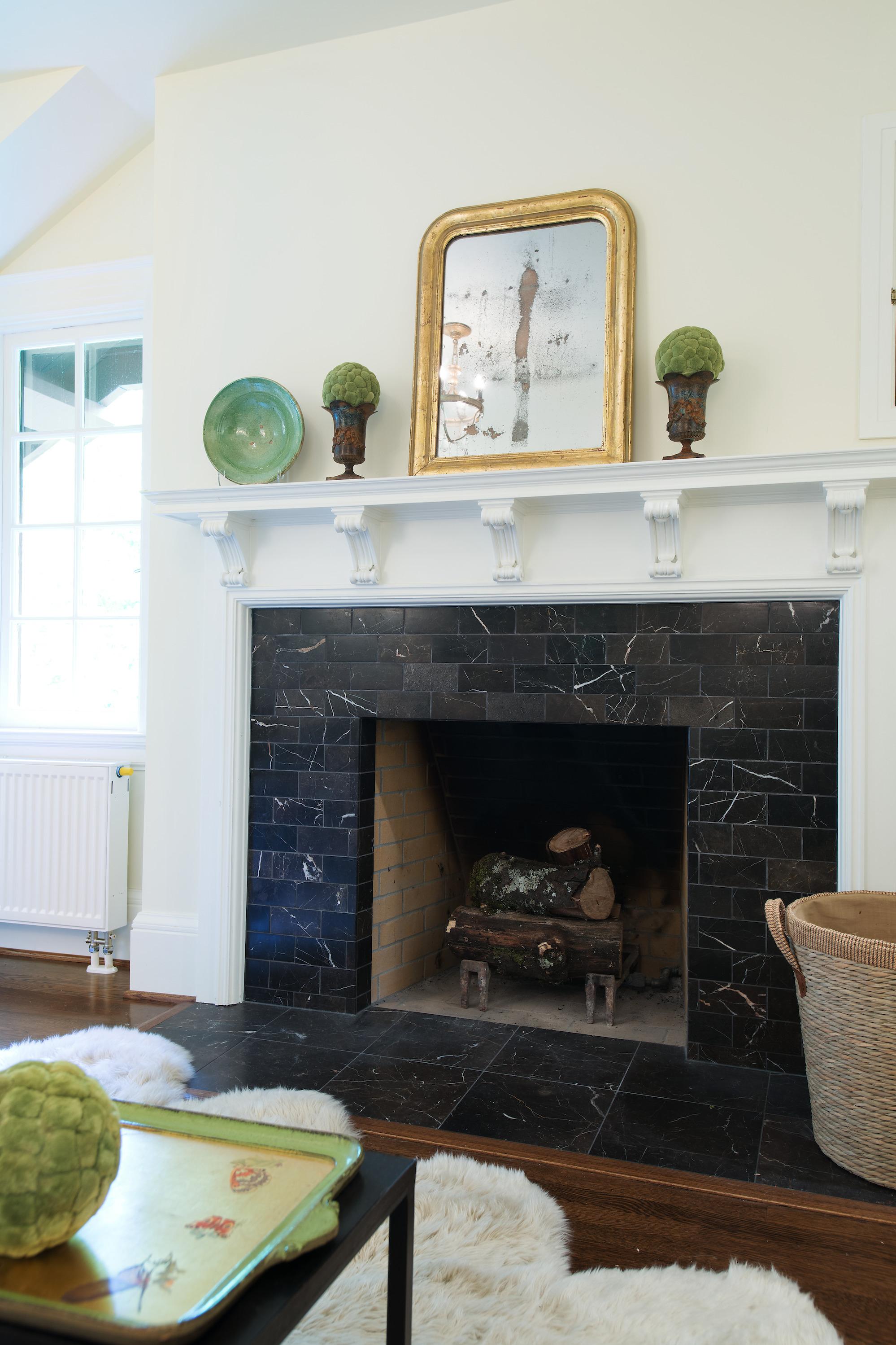 Fireplace design by Jenni Leasia Interior Design in Portland