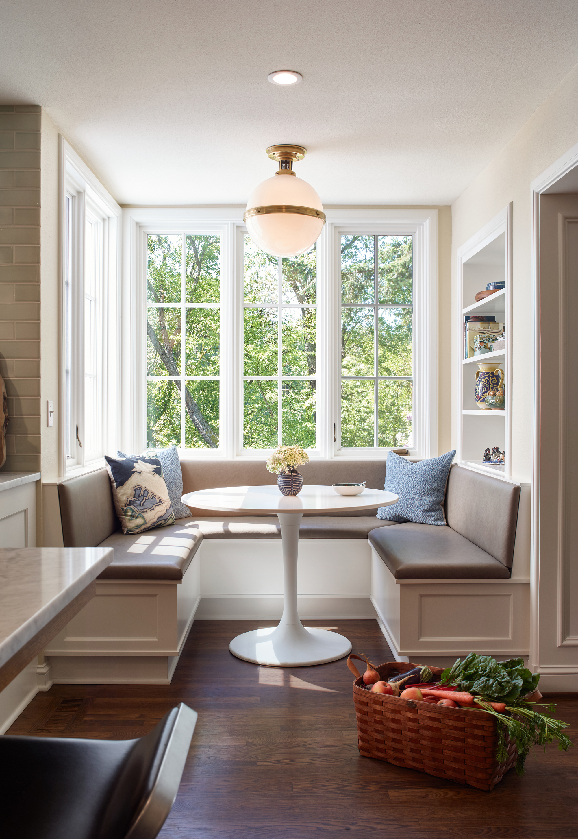 Corner seating area interior design by Jenni Leasia Interior Design in Portland