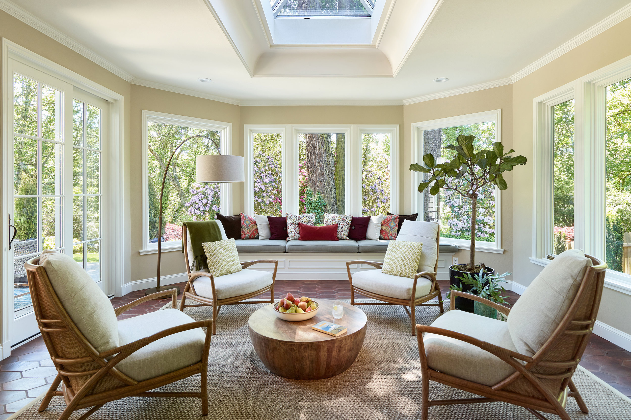 Sunroom interior design by Jenni Leasia Interior Design in Portland