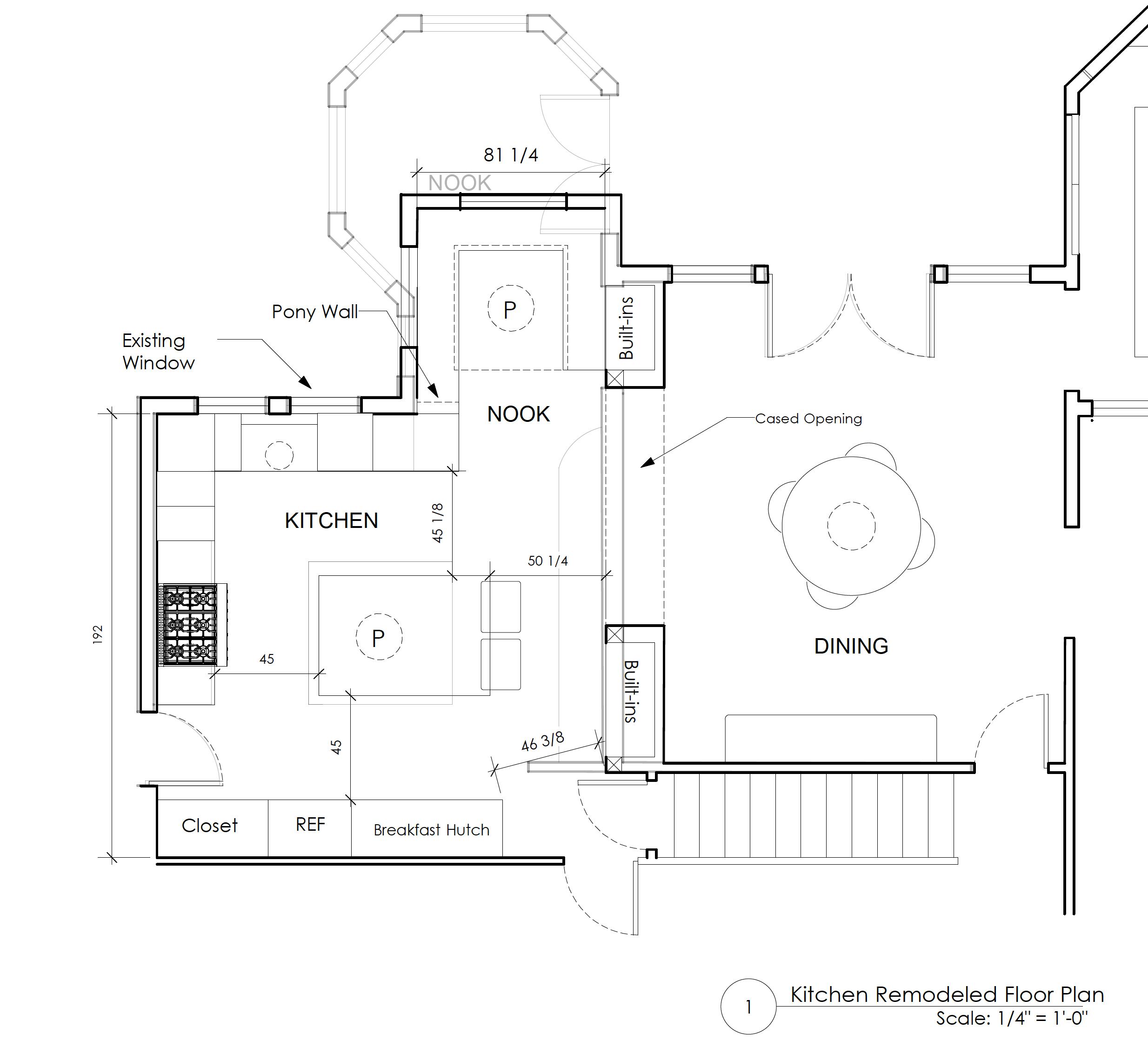Kitchen remodel floor plan by Jenni Leasia Interior Design in Portland