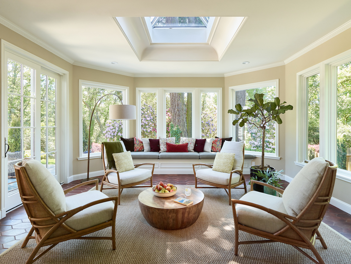 Traditional sunroom interior design by Jenni Leasia Interior Design in Portland