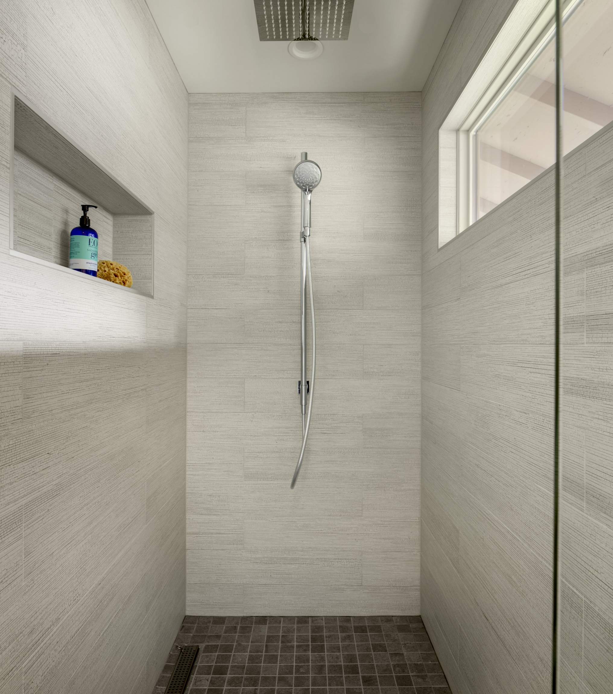 Custom shower bathroom remodel by Jenni Leasia Interior Design in Portland Oregon