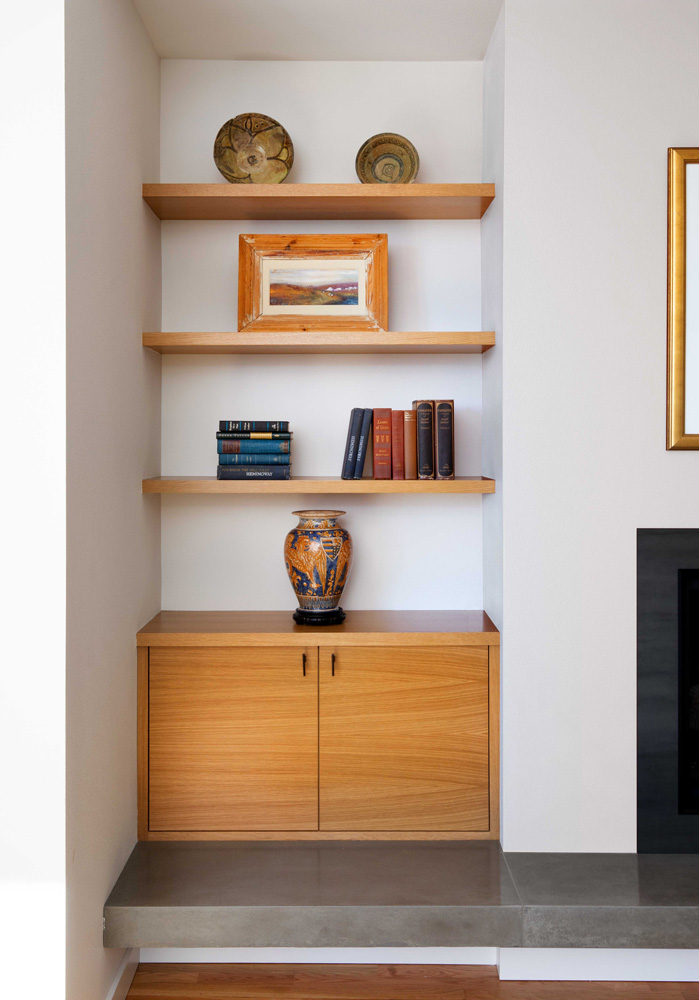 Open shelves design by Jenni Leasia Interior Design in Portland