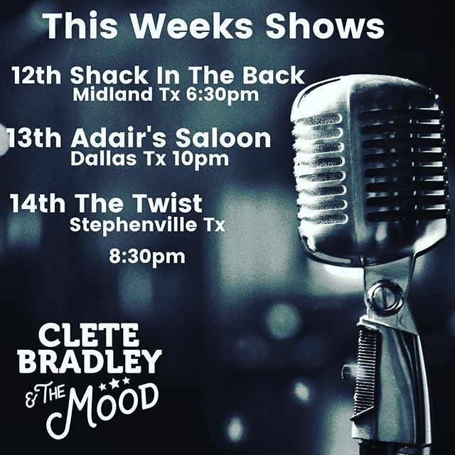 My shows this week kick off in Midland at Shack In The Back! I go on at 6:30pm, Judson Cole Band closes out the night