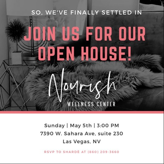 Join Us For the Official Open House of the collective space, Nourish Wellness Center!  May 5th at 3pm! 🗣 7390 W. Sahara Ave.📍 Las Vegas, NV 89117  Link to RSVP in bio!!👆🏼👆🏼 #nourishwellnessvegas #nourishwellnesscenter