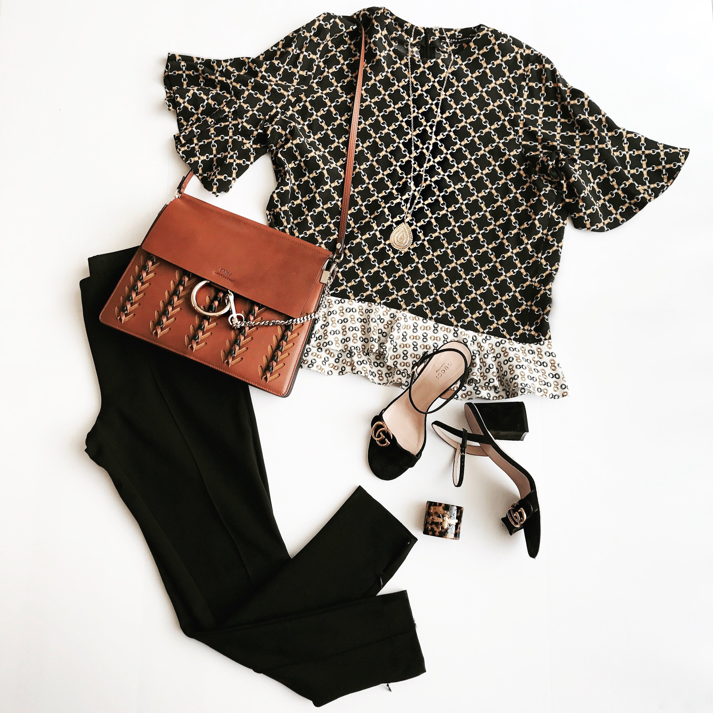 Top  (sold out, but love this one too), P ants , S hoes ,  Bag  (similar),  Necklace