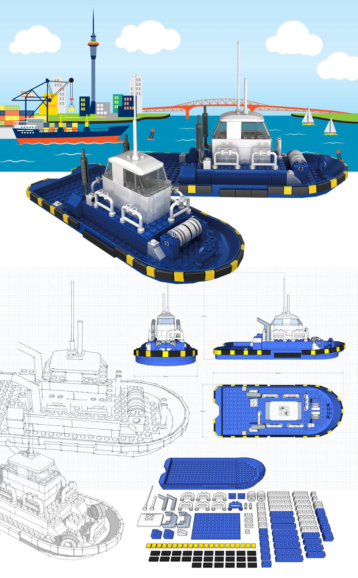 Toy brick tugboat   ports of auckland