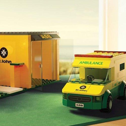Toy brick ambulance and station   ASB / St john