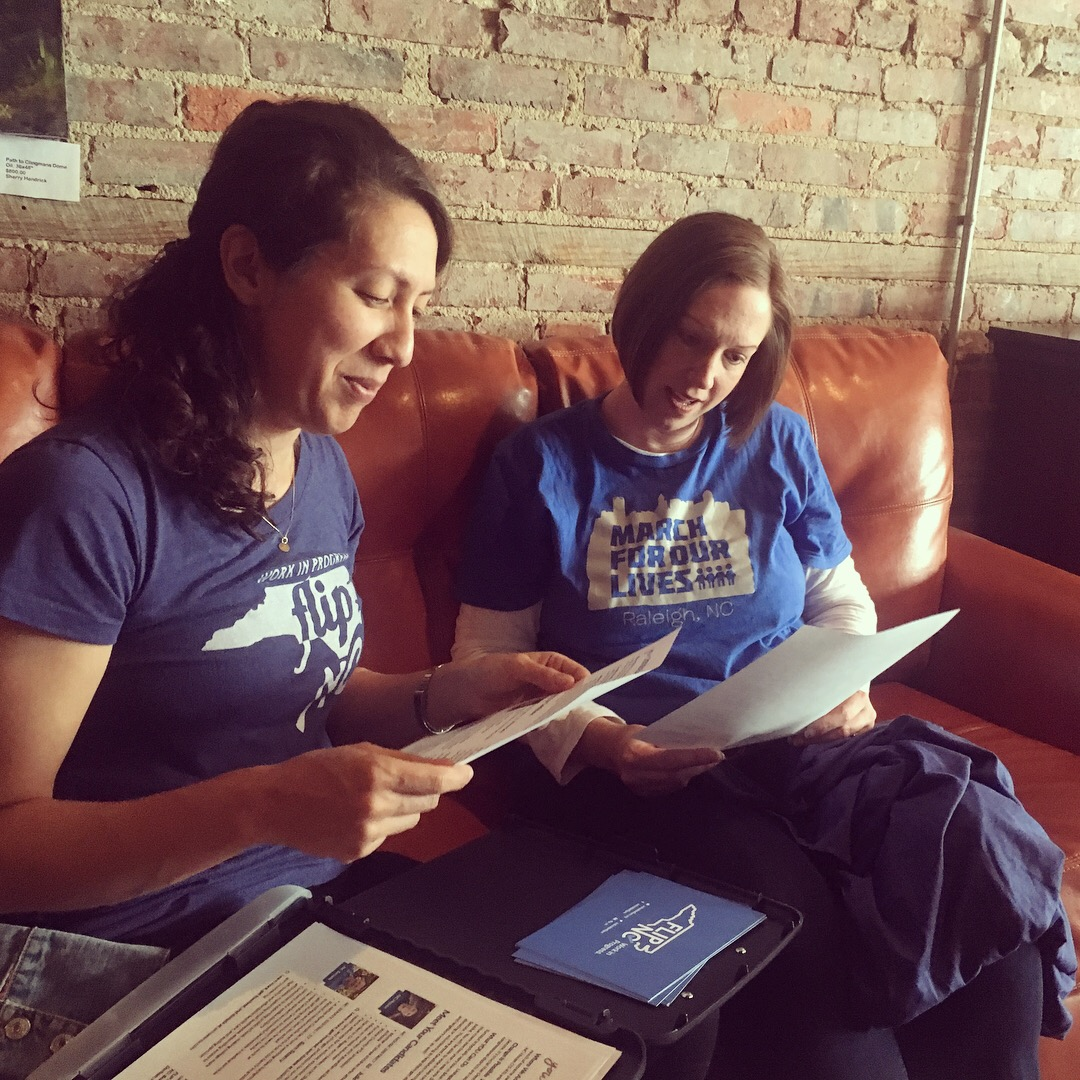 Kumi (left) with fellow FLIPster Michelle Craig at a recent Wake County canvass.