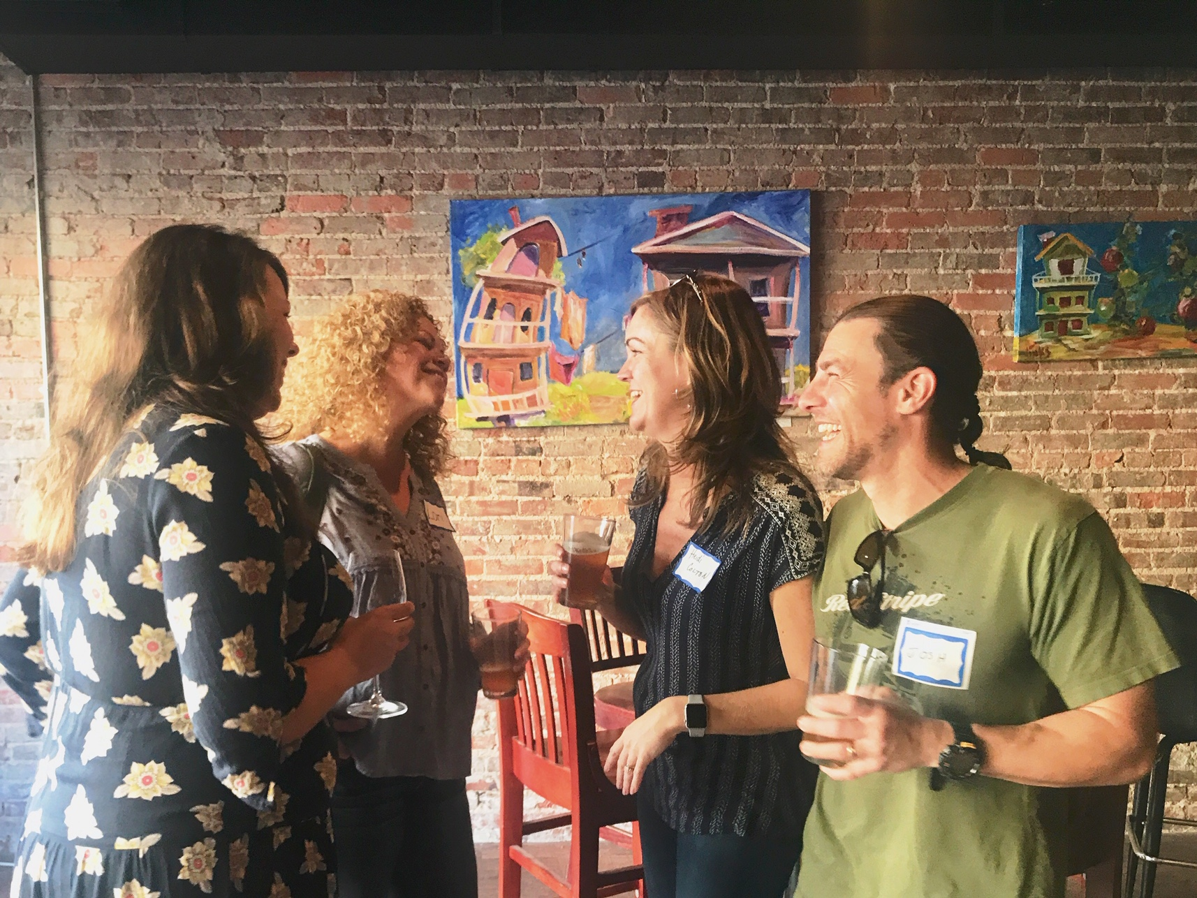 Andrea Cash, Lori Mathews, Heidi Colton, and Josh Colton at a Happy Hour this spring in NC-H36
